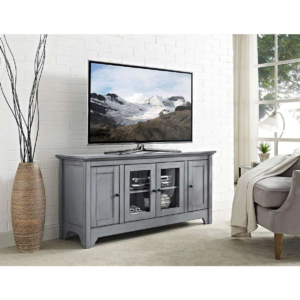 Gray Tv Stands Living Room Furniture The Home Depot Solid Wood Regarding Grey Wood Tv Stands (View 2 of 15)