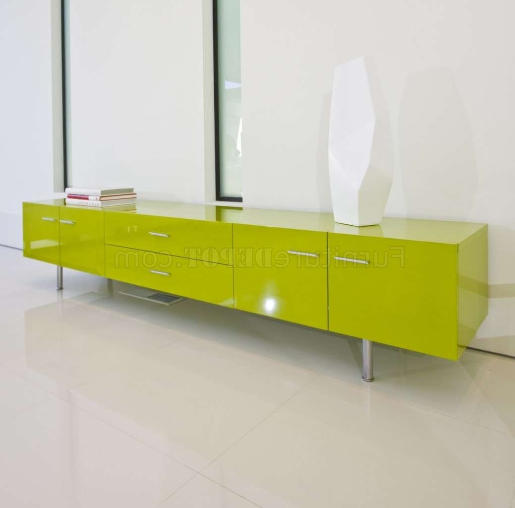 Green High Gloss Finish Modern Tv Stand W/doors & Drawers In Green Tv Stands (Gallery 1 of 15)