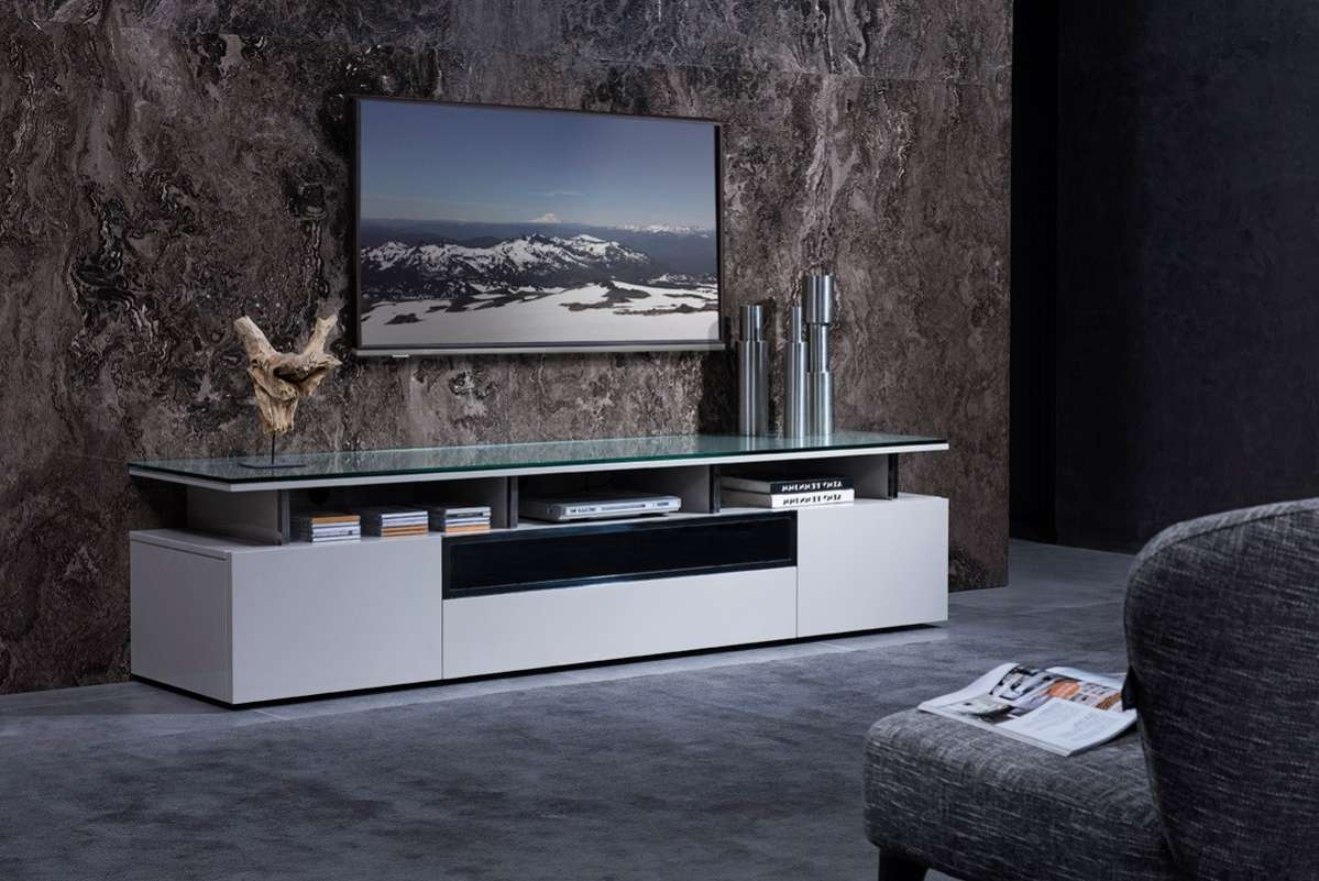 Grey Lacquer Living Room Tv Stand With Glass Top Chicago Illinois With Regard To Stylish Tv Stands (View 3 of 15)