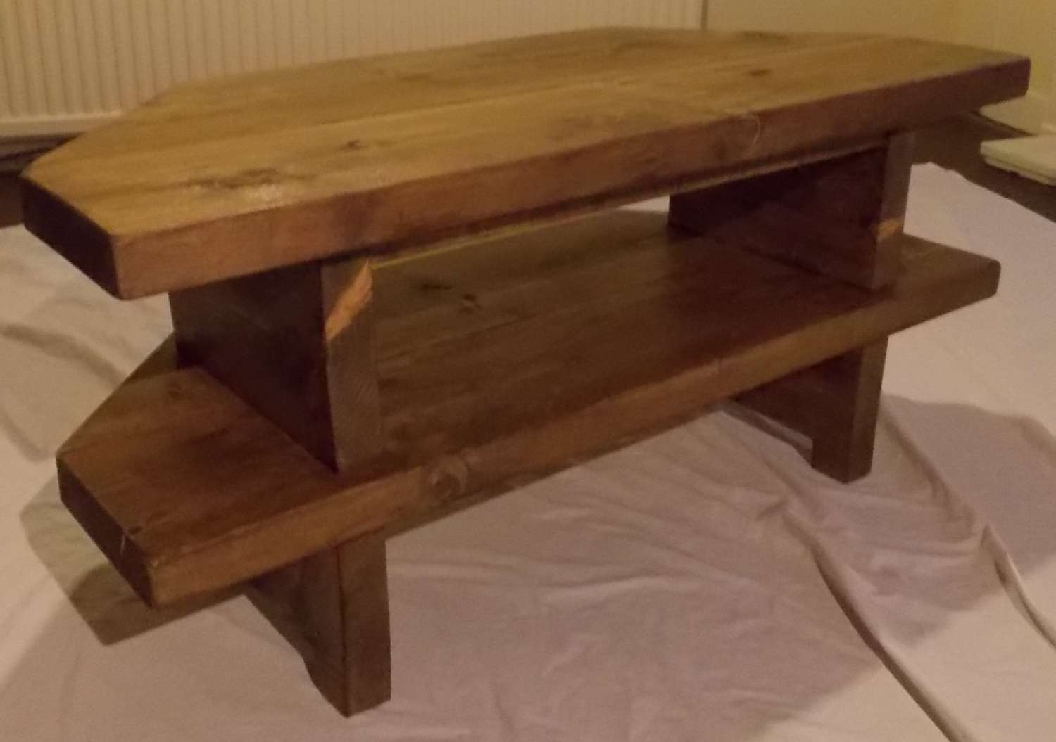 Hand Made Rustic Corner Tv Stand 028 Pertaining To Rustic Corner Tv Cabinets (View 4 of 20)
