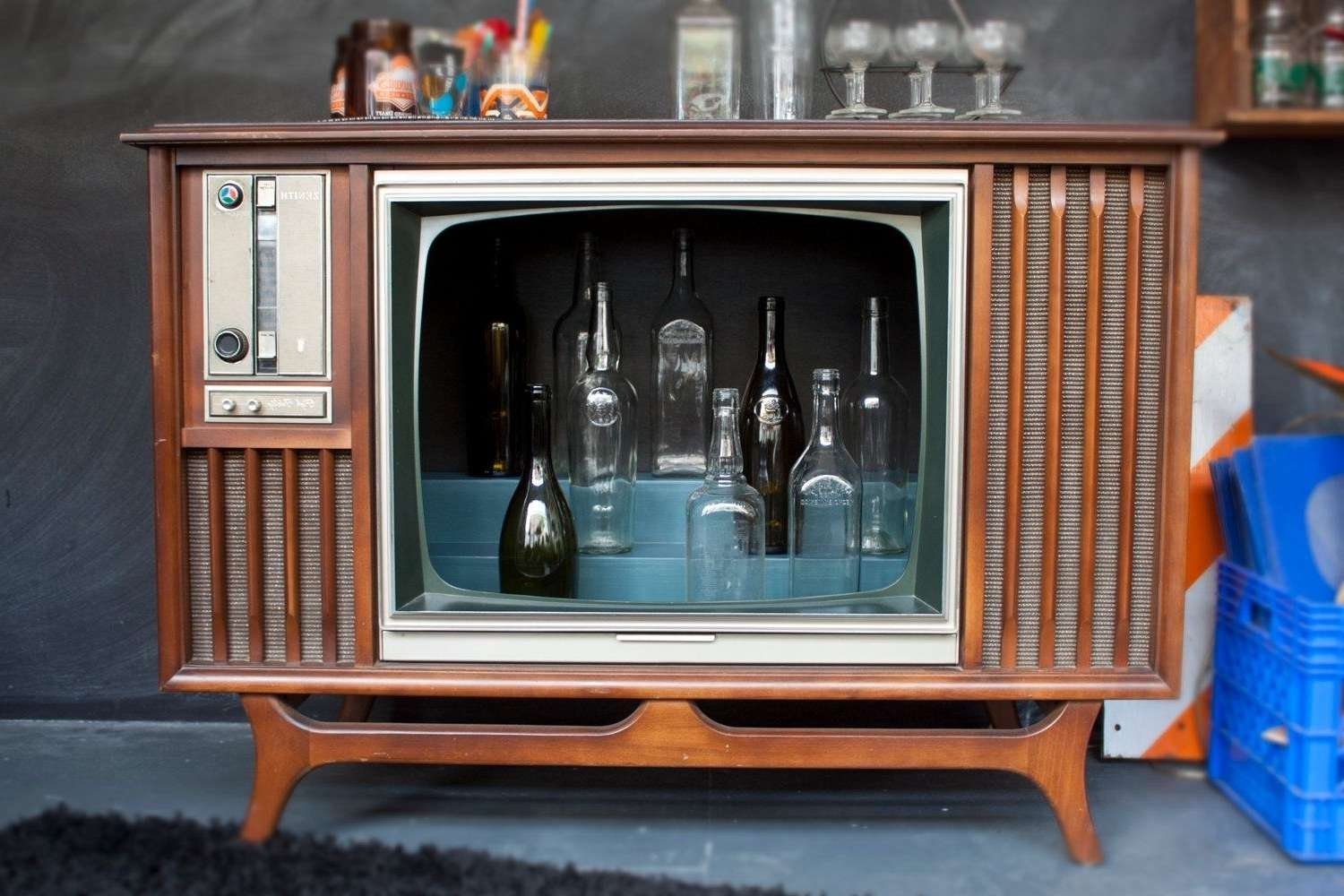 Hand Made Vintage Tv Television Cocktail Bar Cabinetwhisky With Regard To Vintage Style Tv Cabinets (View 17 of 20)