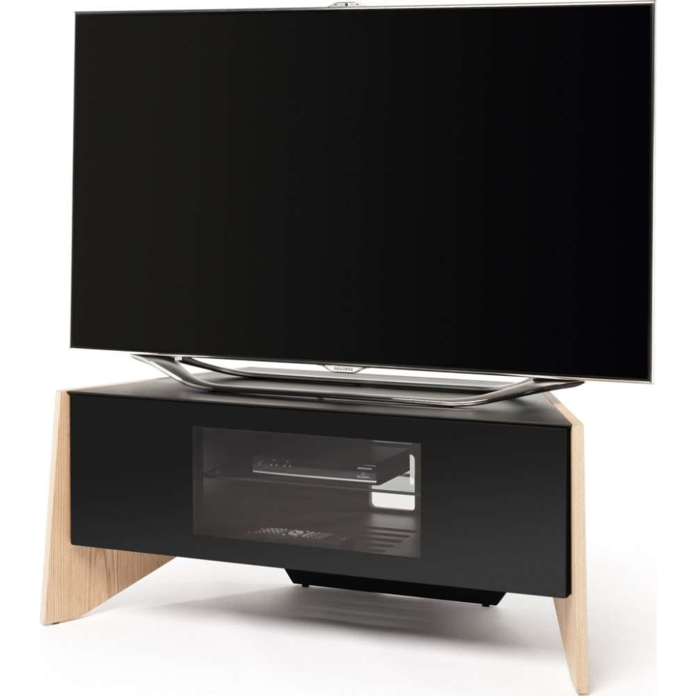 Handle Less Drop Down Door; Screens Up To 50 In Light Oak Corner Tv Stands (View 5 of 20)
