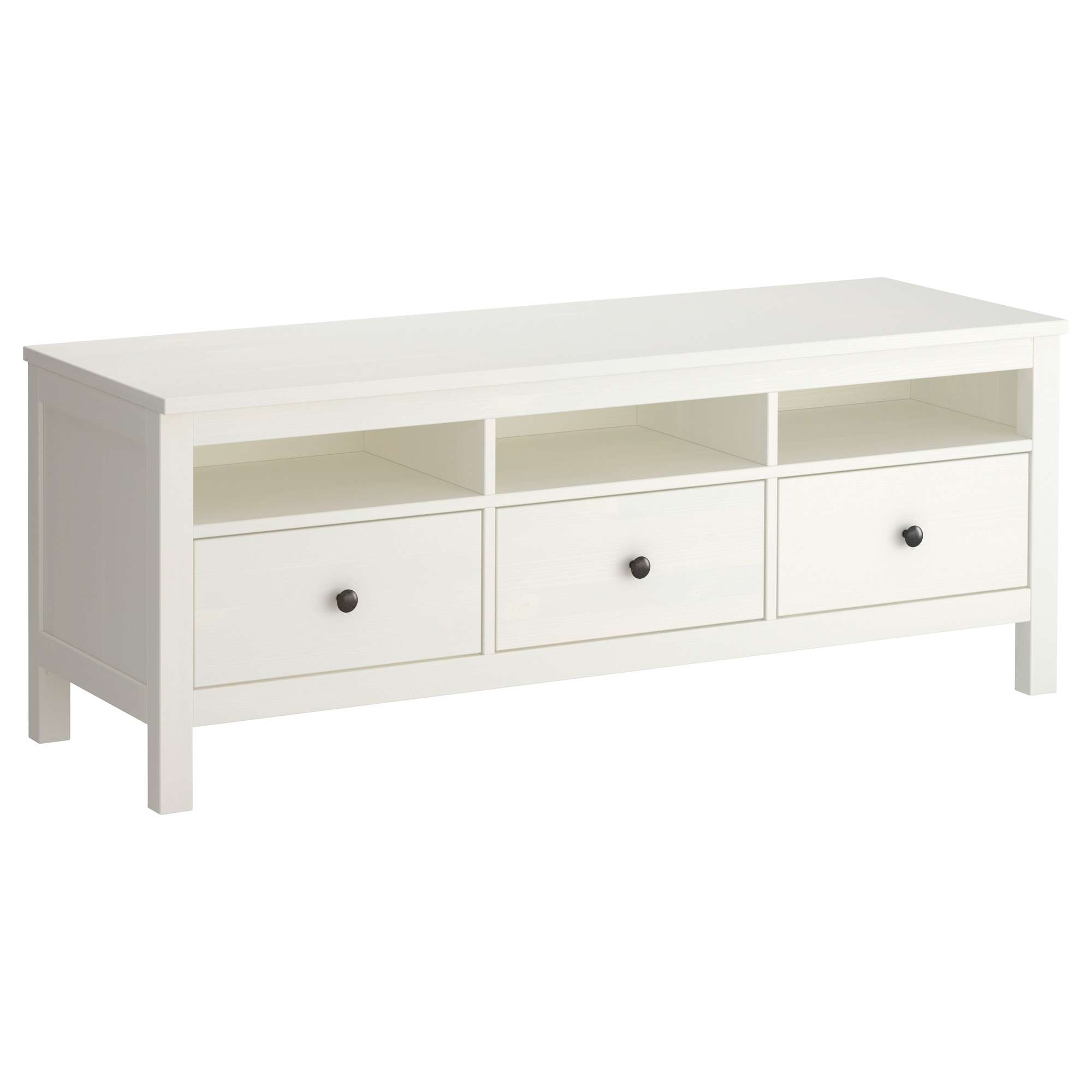 Hemnes Tv Bench White Stain 148x47 Cm – Ikea Throughout White And Wood Tv Stands (View 13 of 15)