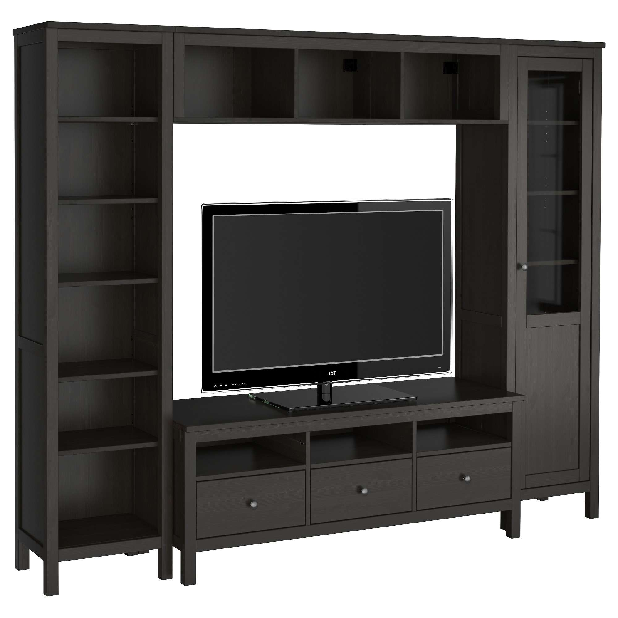 Hemnes Tv Storage Combination Black Brown Media And Furniture Cm Regarding Tall Black Tv Cabinets (View 6 of 20)