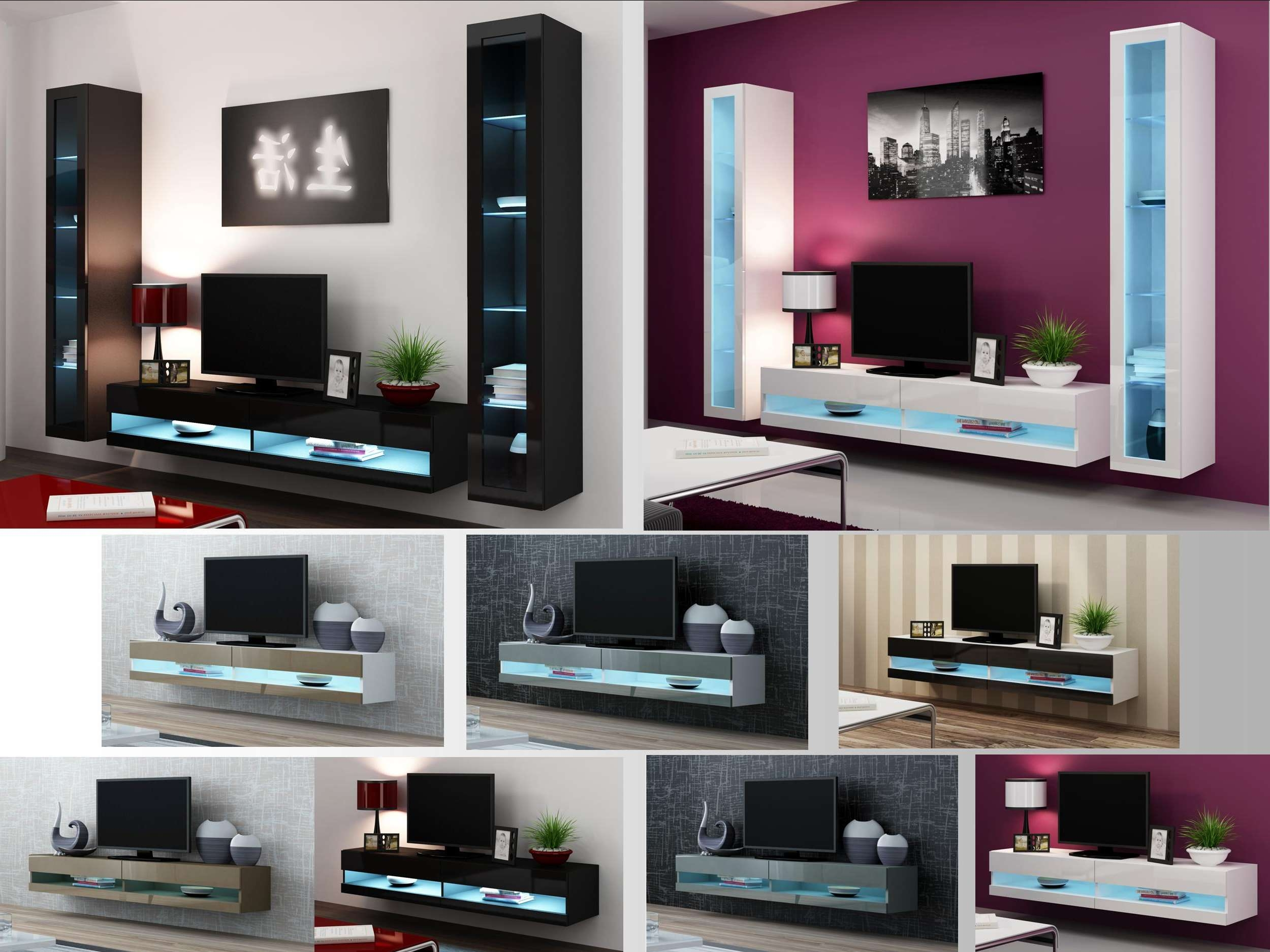 High Gloss Living Room Furniture – Tv Stand, Wall Mounted Cabinet Pertaining To Tv Stands With Led Lights (View 8 of 15)