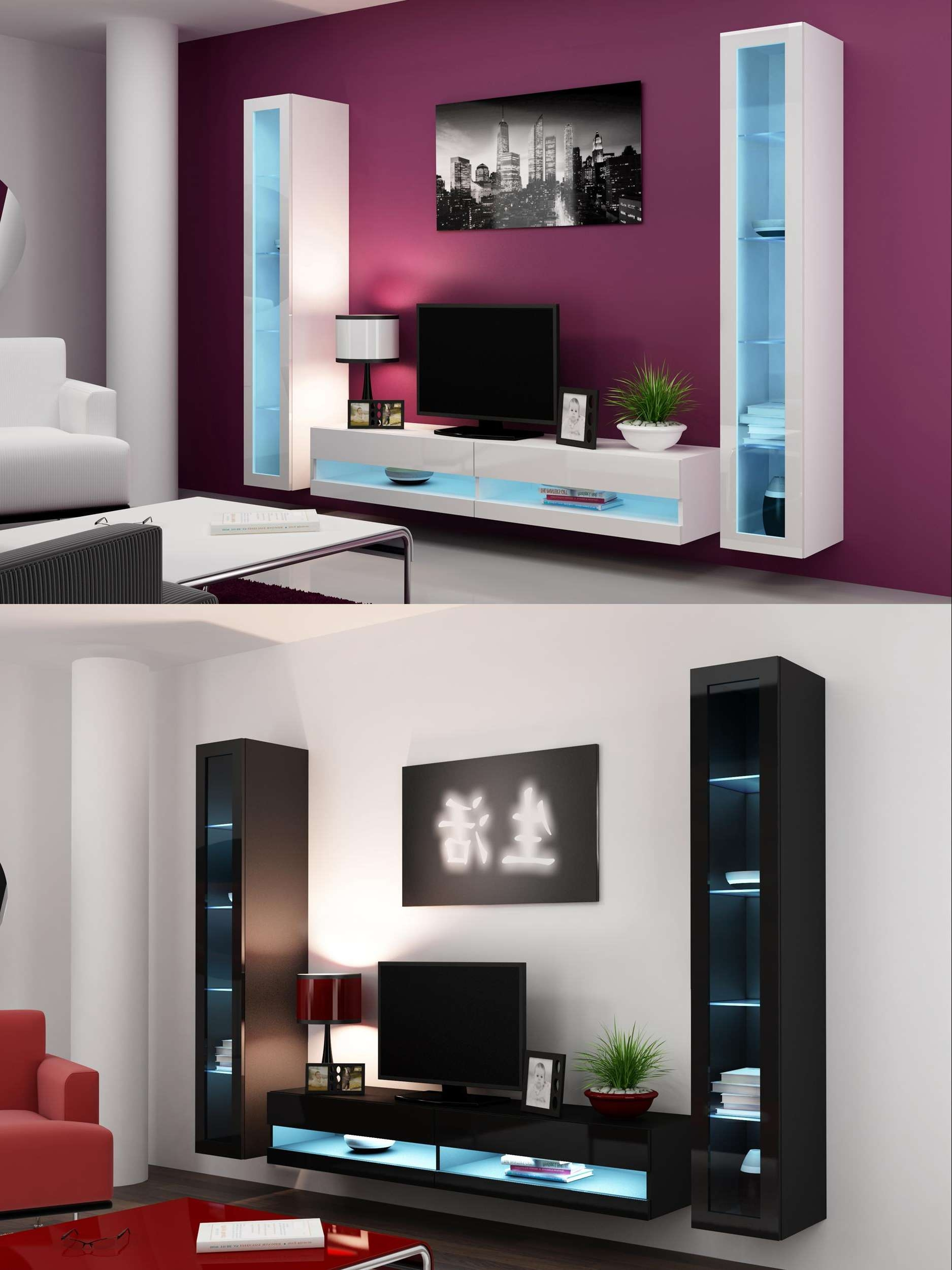 High Gloss Living Room Set With Led Lights, Tv Stand, Wall Mounted Pertaining To Wall Display Units And Tv Cabinets (View 2 of 20)