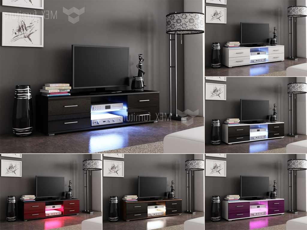 High Gloss Tv Cabinets, Unit – Mex Furniture In Illuminated Tv Stands (View 4 of 20)