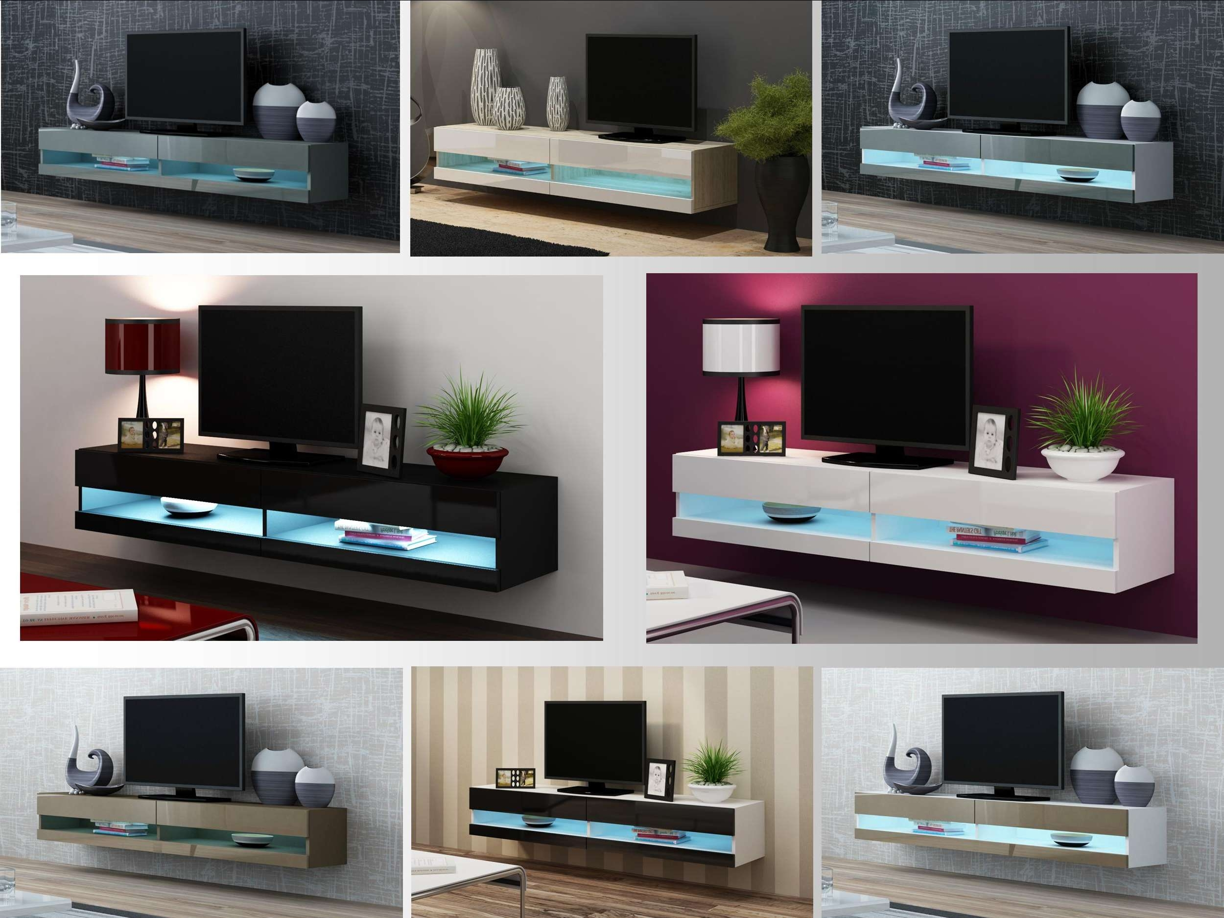 High Gloss Tv Stand Cabinet With Led Lights | Entertainment With Regard To Tv Stands Wall Units (View 3 of 15)