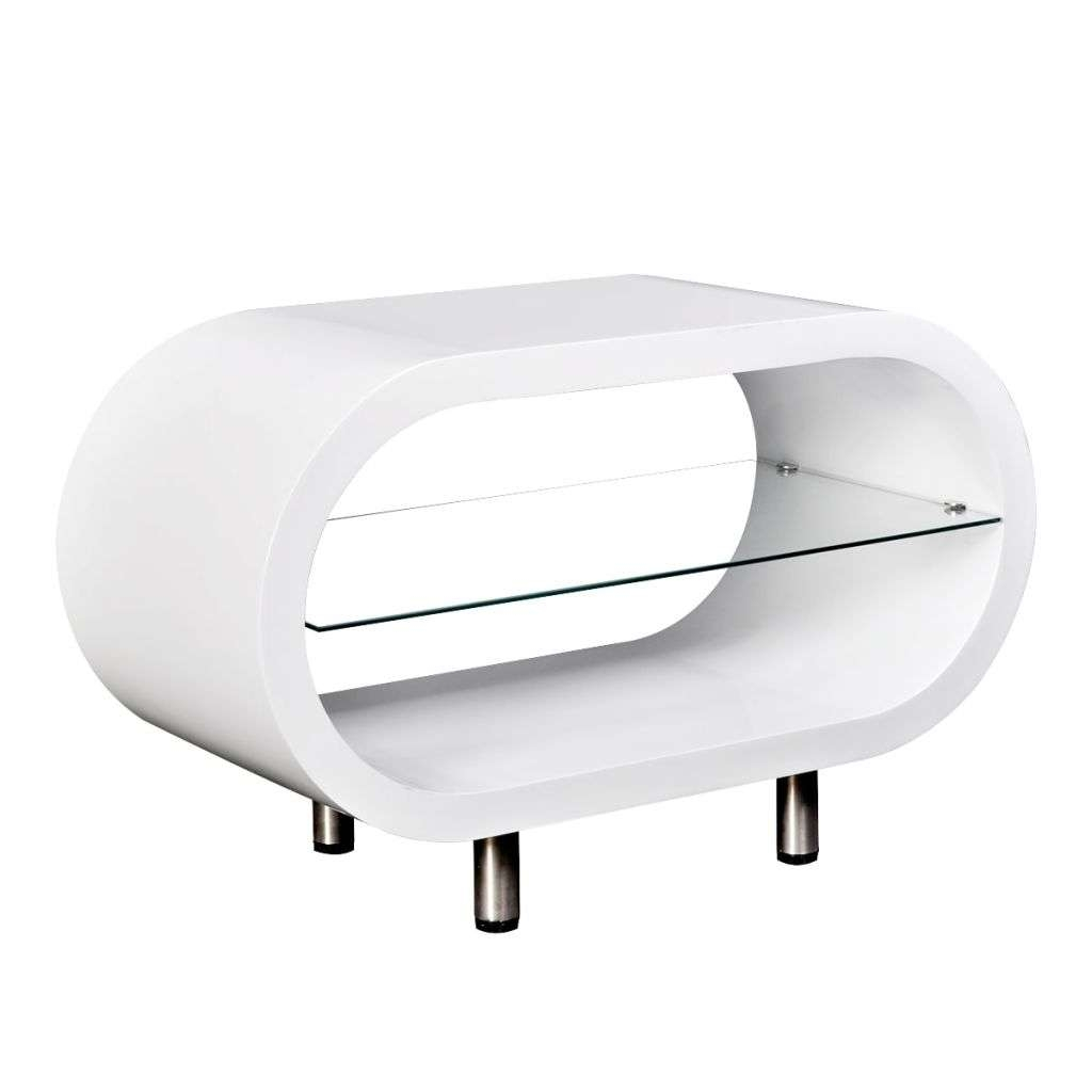 High Gloss White Tv Stand Coffee Table Oval | Vidaxl.co (View 6 of 15)