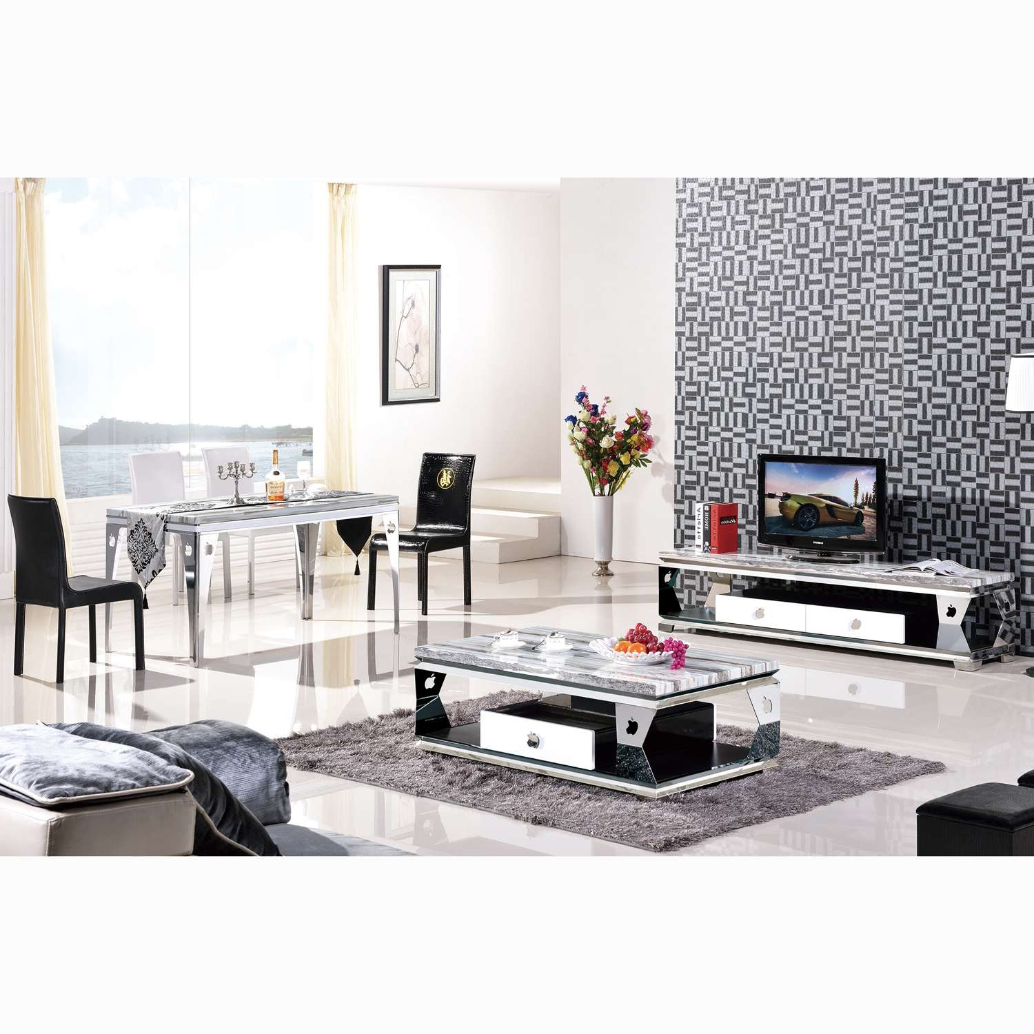 High Grade Stainless Steel Apple Tv Cabinet Marble Coffee Table Intended For Coffee Tables And Tv Stands Matching (View 7 of 15)