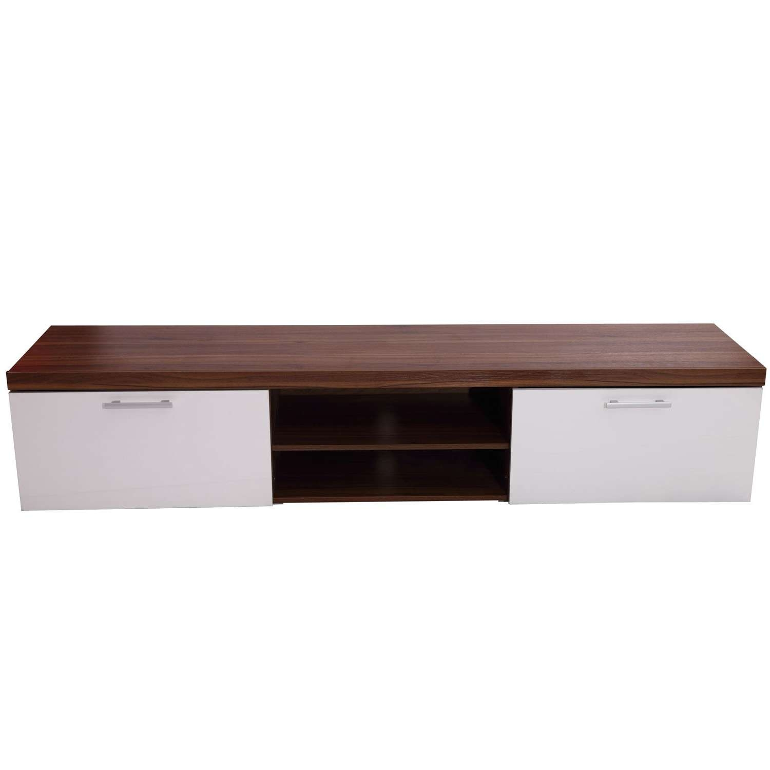 Homcom Tv Cabinet Unit, 2 High Gloss Doors White/walnut With Regard To Walnut Tv Cabinets With Doors (View 5 of 20)