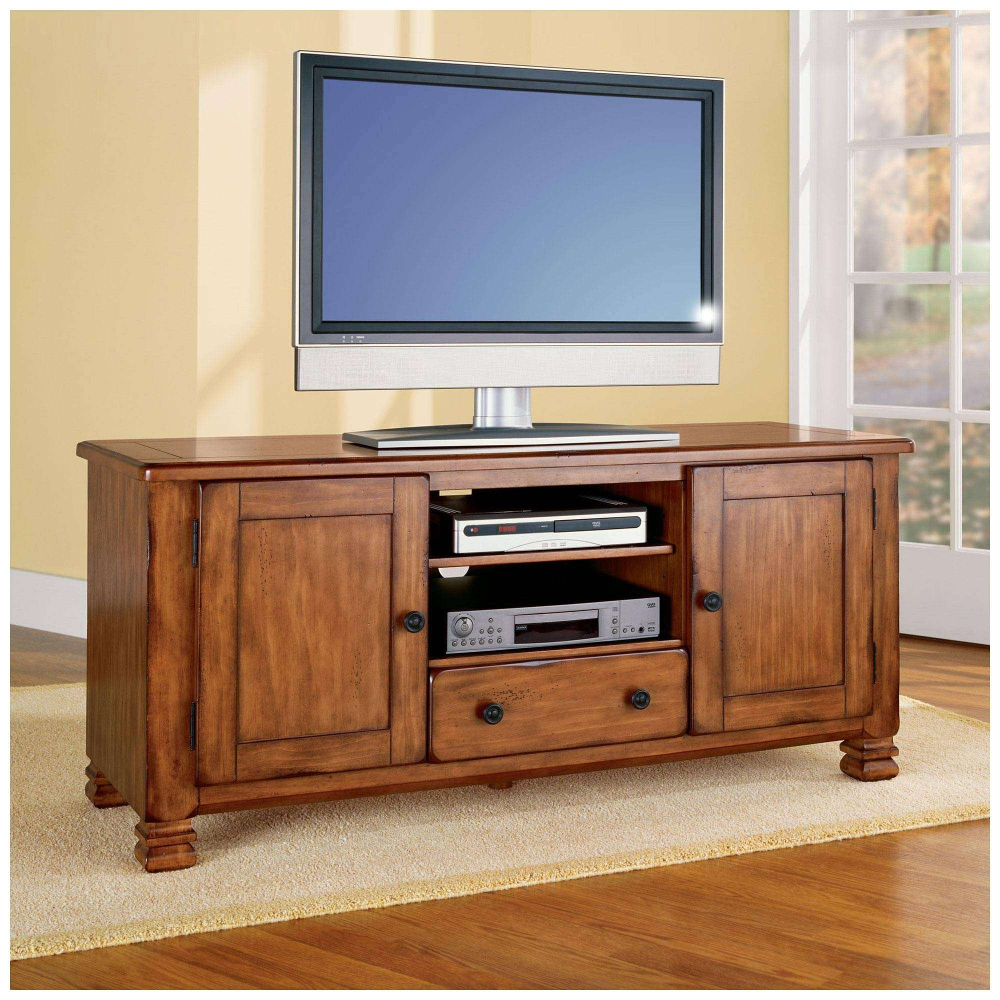 Home Decor: Cozy Wood Tv Stands For Flat Screens And View Photos Pertaining To Light Oak Tv Stands Flat Screen (View 6 of 15)