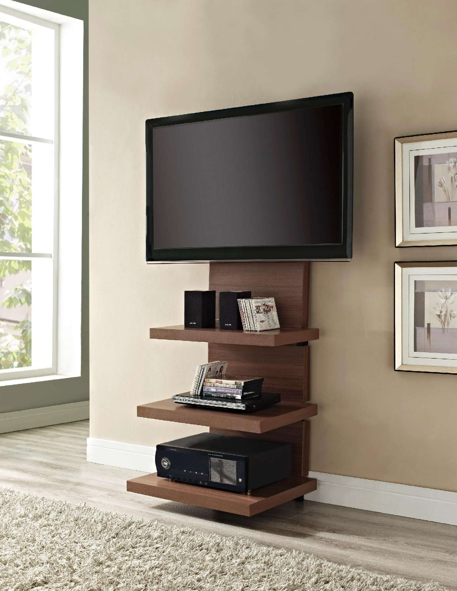 Home Decor: Perfect Tv Stands With Flat Panel Mounts To Complete Pertaining To Modern Wall Mount Tv Stands (View 2 of 15)