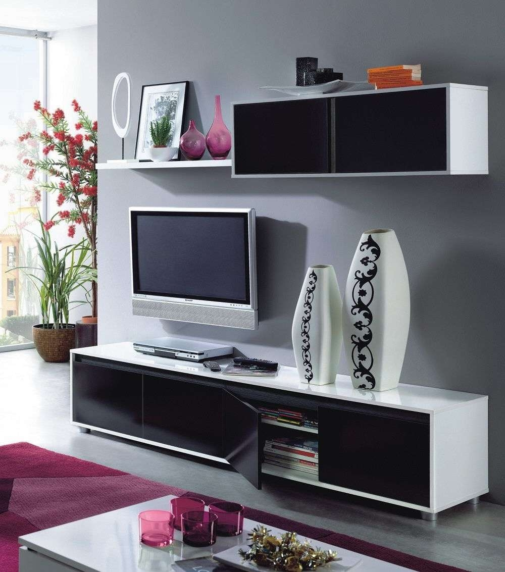 Home Est Lena Black White Gloss Living Room Tv Stand Wall Cabinet Set Within White Tv Cabinets (View 6 of 20)