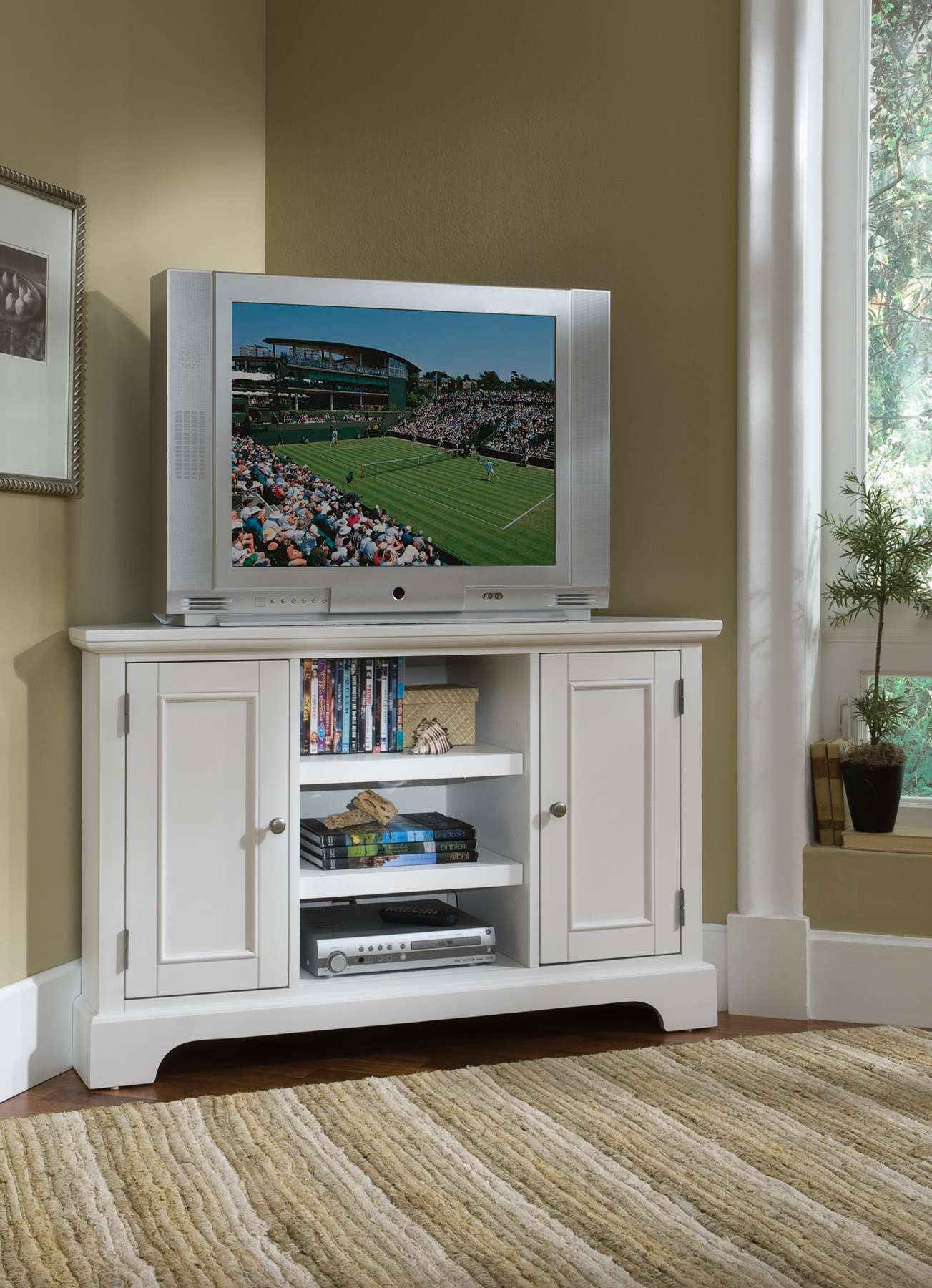 Home Styles Naples Corner Entertainment Stand 5530 07 Inside White Corner Tv Cabinets (View 8 of 20)