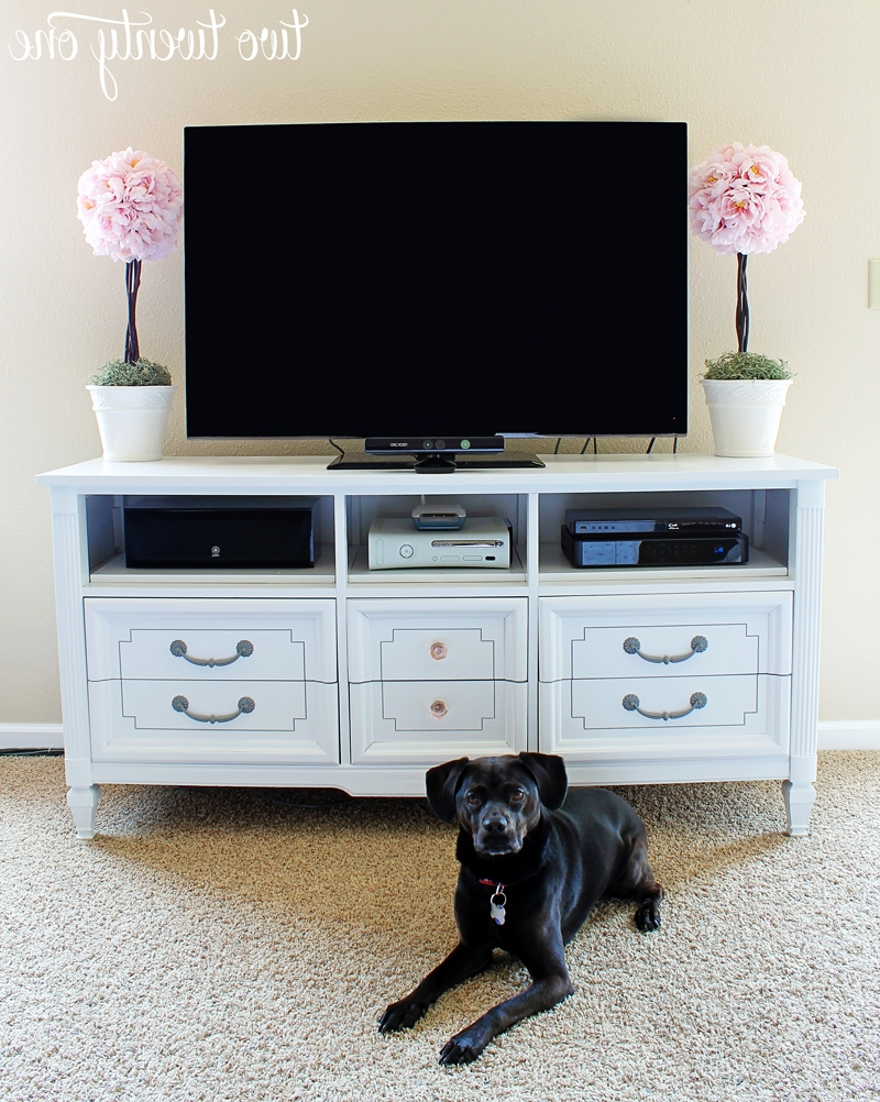 How To Turn A Dresser Into A Tv Stand {diy} – Two Twenty One Within Small Tv Stands For Top Of Dresser (View 2 of 15)