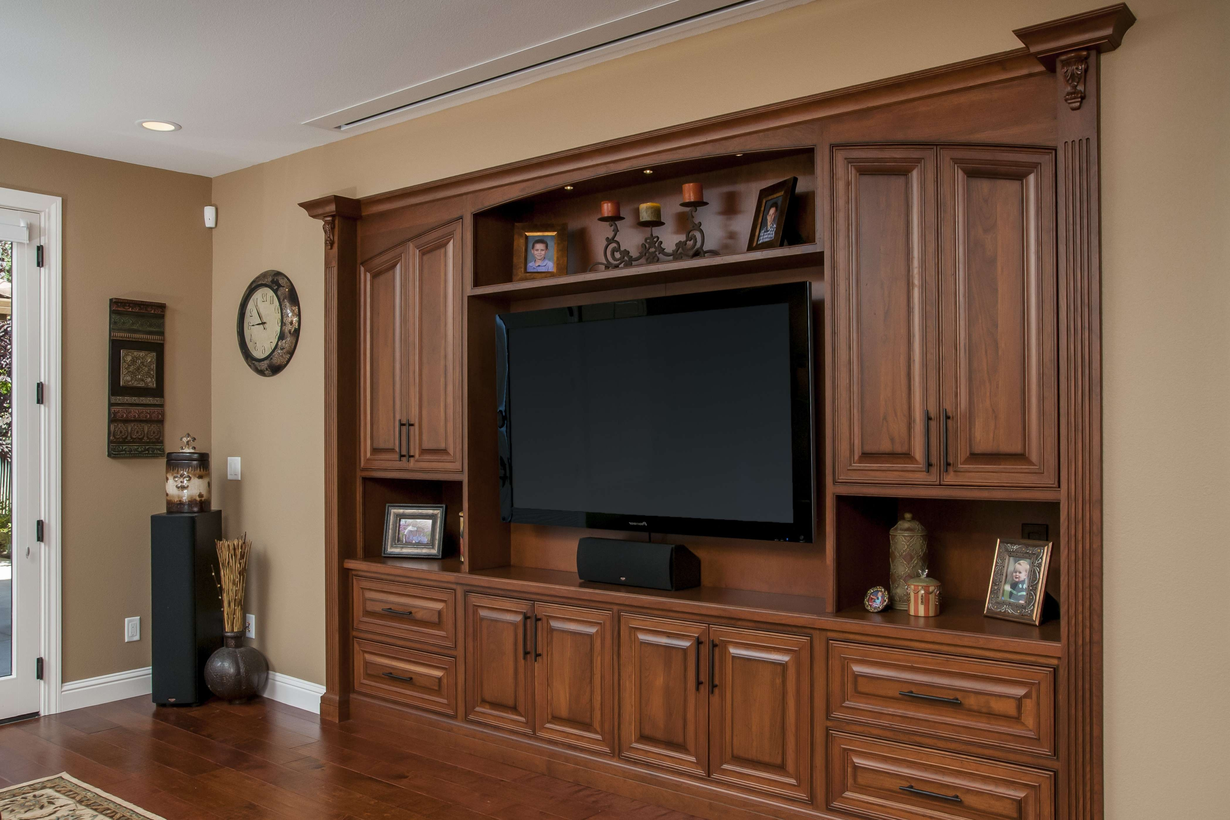 Huge Wood Wall Entertainment Center With Doors And Large Flat Inside Big Tv Stands Furniture (View 11 of 15)