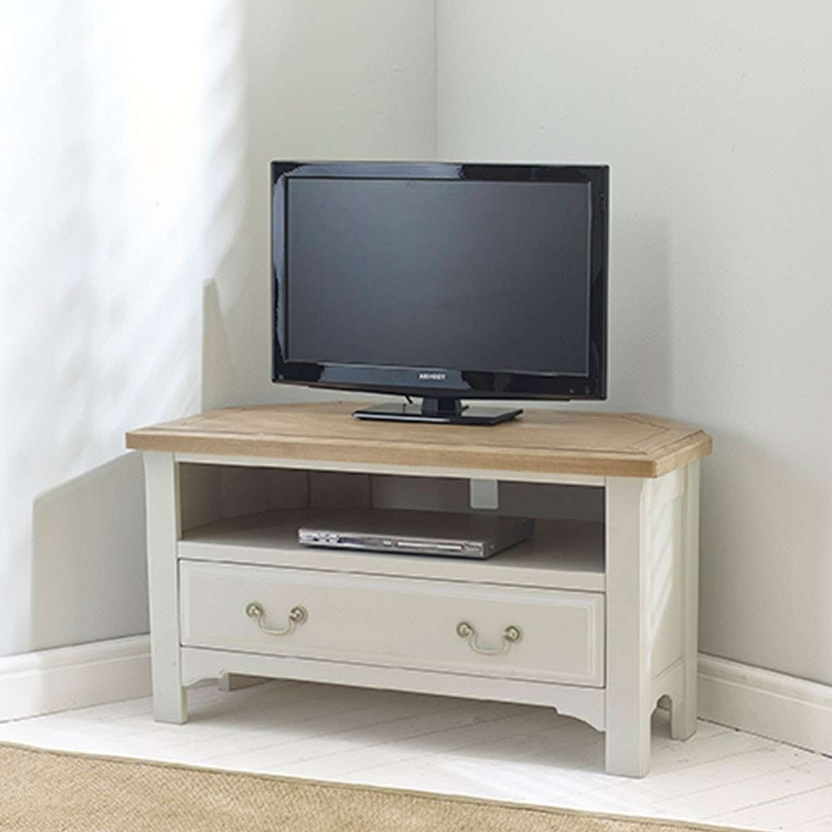 Hutch® – Buxton Light Grey Painted Corner Tv Unit Inside Light Oak Corner Tv Cabinets (View 6 of 20)