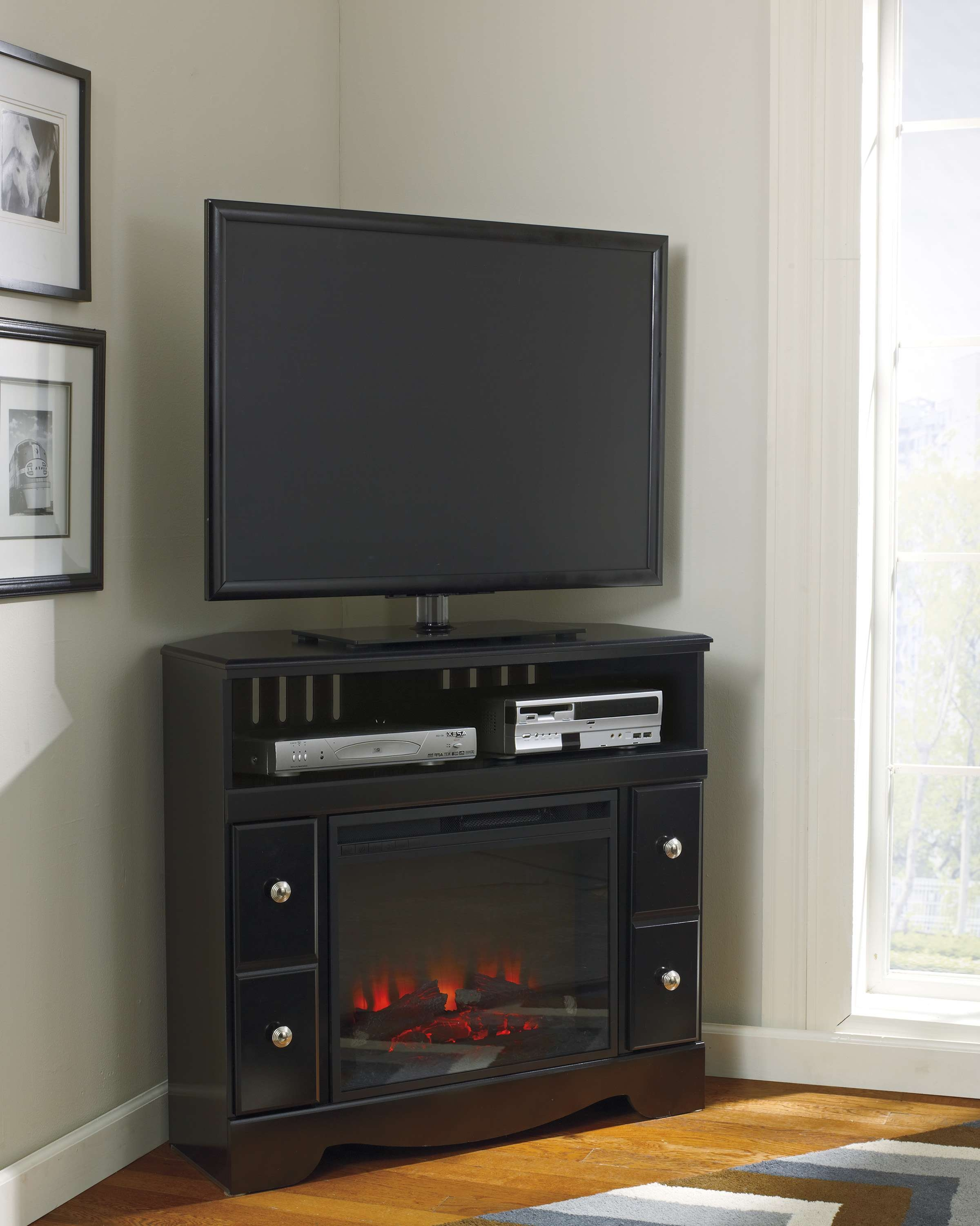 Ideas For Corner Tv Stands With Bedroom White Painted Wooden Stand Throughout Dark Brown Corner Tv Stands (View 18 of 20)