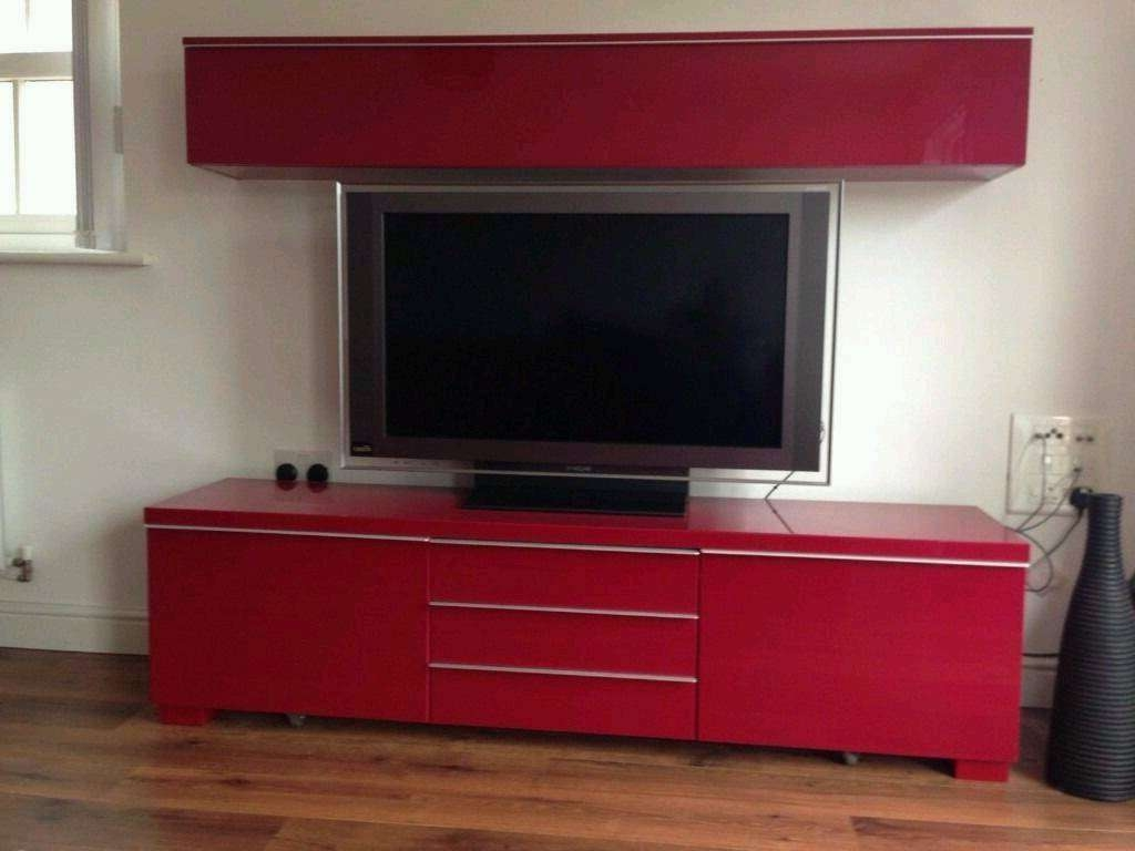 Ikea Besta Burs High Gloss Red Tv Stand Cupboard | In Byfleet Regarding Red Tv Stands (View 3 of 15)