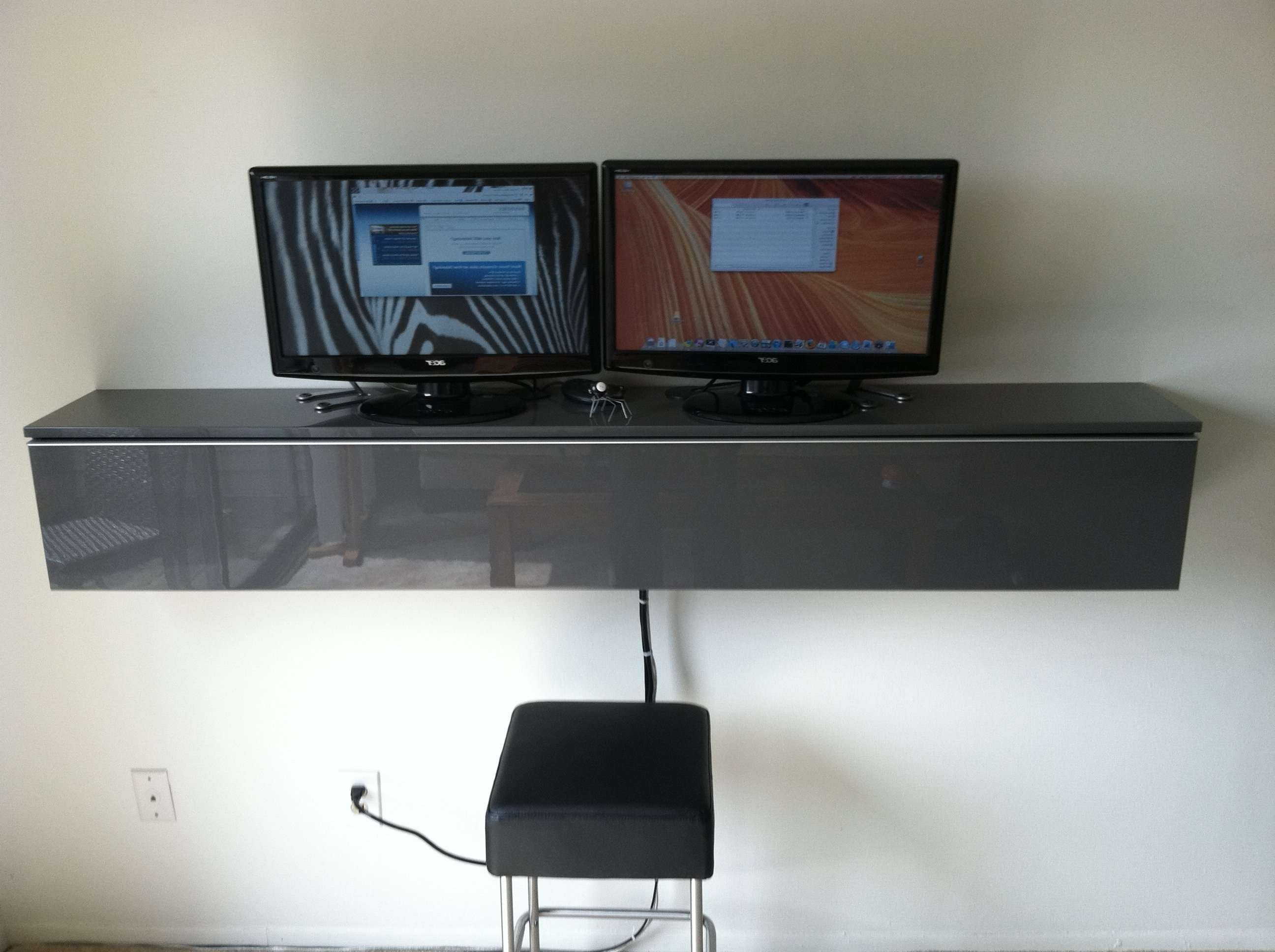 Ikea Besta Tv Stand With Floating Double Tv And Long Grey Glossy Pertaining To Double Tv Stands (View 3 of 15)