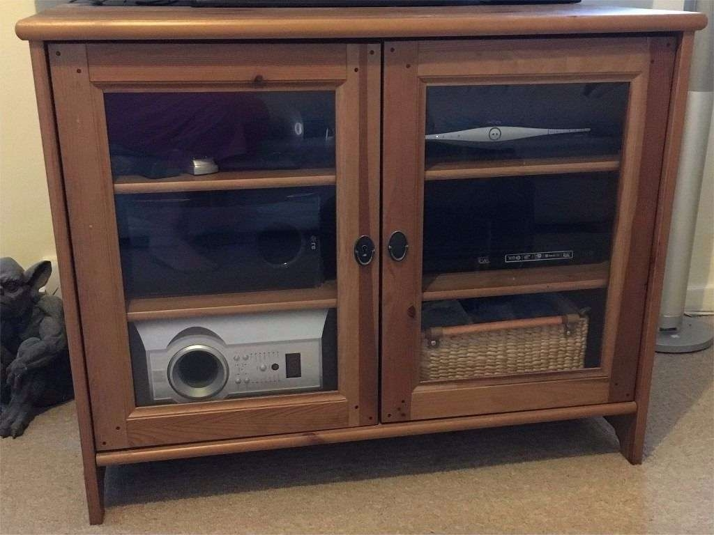 Ikea Leksvik Antique Pine Tv Cabinet With Glass Doors (And Key In Glass Tv Cabinets With Doors (View 6 of 20)