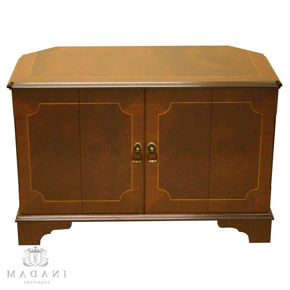 Inadam Furniture – Corner Tv Cabinet – In Mahogany/yew/oak/walnut Within Walnut Tv Cabinets With Doors (View 6 of 20)