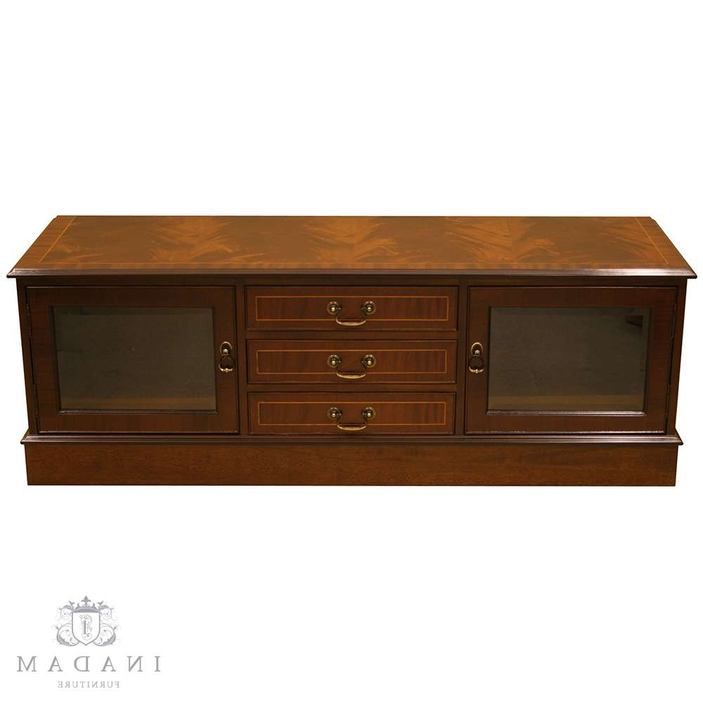 Inadam Furniture – Tv Stand With 3 Drawers/2 Doors – In Mahogany Regarding Walnut Tv Cabinets With Doors (View 7 of 20)