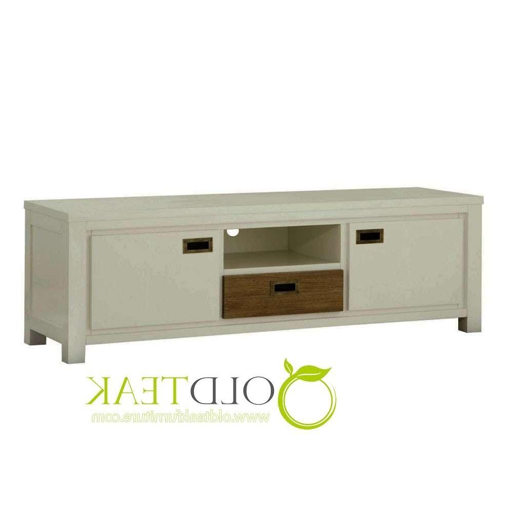 Indonesia Teak Furniture | White Painted Tv Cabinet 2 Door 1 Inside White Painted Tv Cabinets (View 7 of 20)