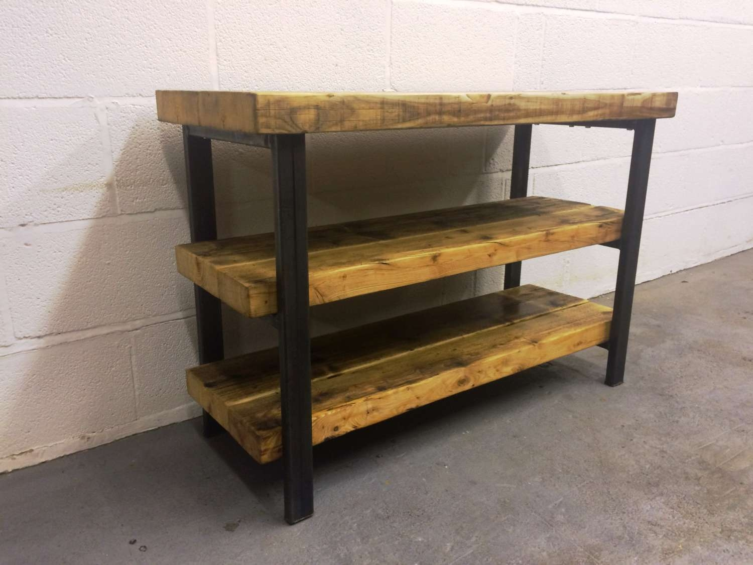 Industrial Chic Reclaimed Tv Stand Media Centre Coffee Table Inside Wood And Metal Tv Stands (Gallery 1 of 15)