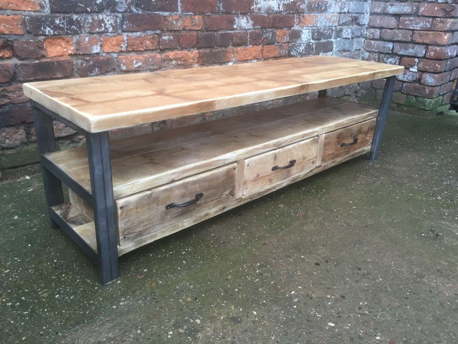 Industrial Chic Reclaimed Wood Tv Stand Media Unit With 3 With Regard To Metal And Wood Tv Stands (View 2 of 15)