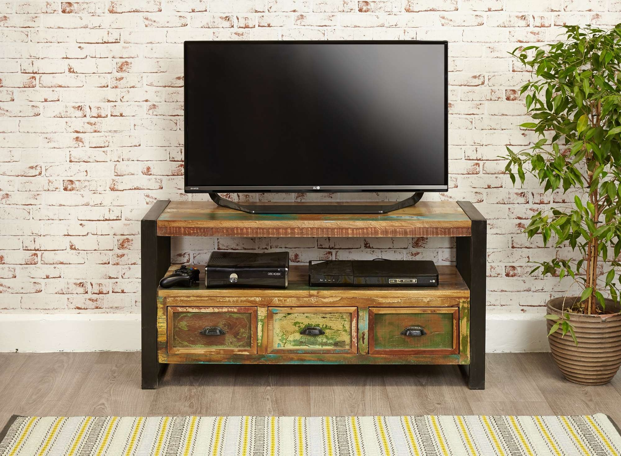 Industrial Chic Widescreen Television Cabinet | Hampshire Furniture Throughout Industrial Tv Cabinets (Gallery 16 of 20)
