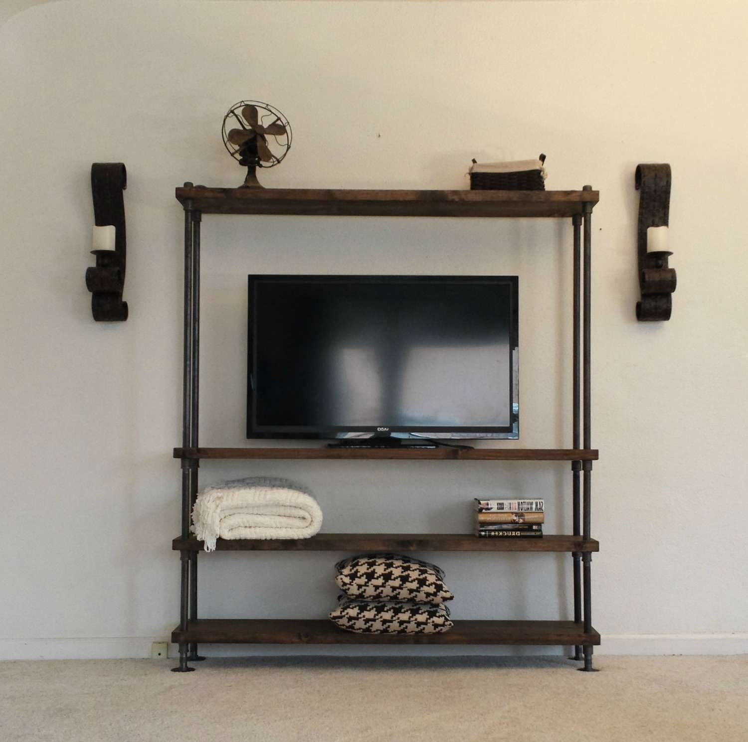 Industrial Entertainment Center Tv Stand Media Center For Industrial Tv Stands (View 15 of 15)