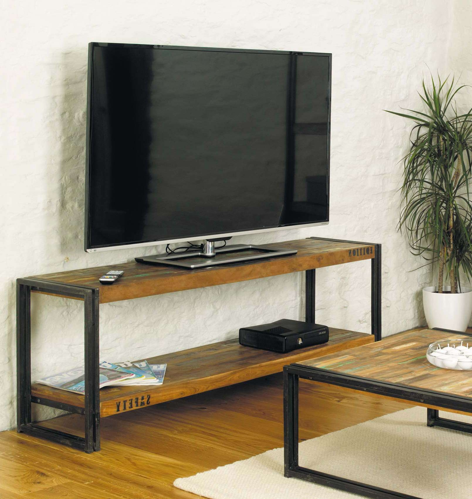 Industrial Media Cabinet Rack Tv Stand With Metal Legs And Within Metal And Wood Tv Stands (View 13 of 15)