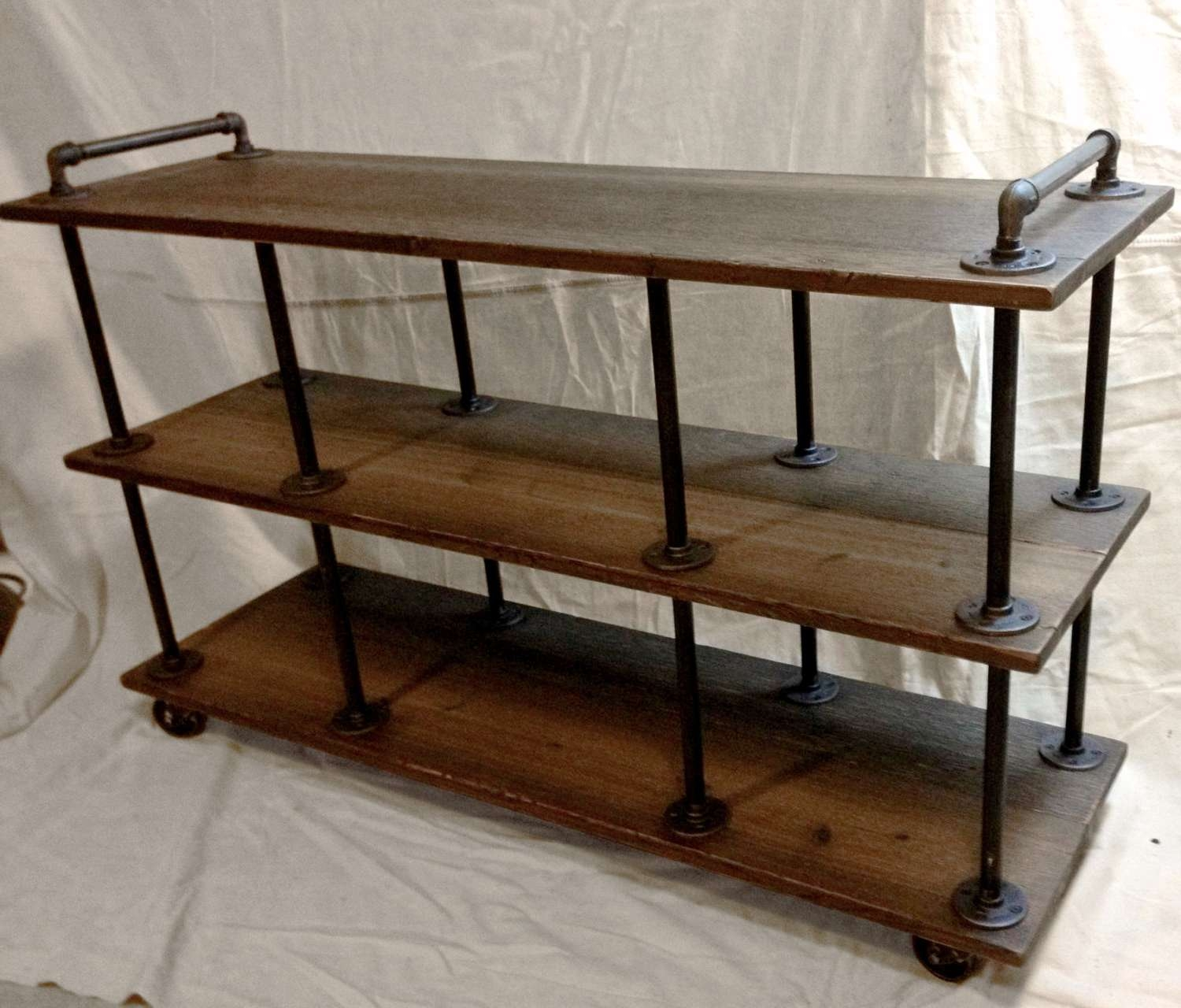 Industrial Tv Stand, Iron And Wood, For 46 To 52 Tvs Pertaining To Wooden Tv Stands With Wheels (View 9 of 15)