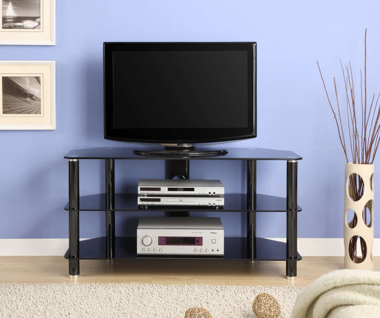Innovex 42 In Black Glass Tv Stand Tc280g29 Throughout Glass Tv Stands (View 12 of 15)