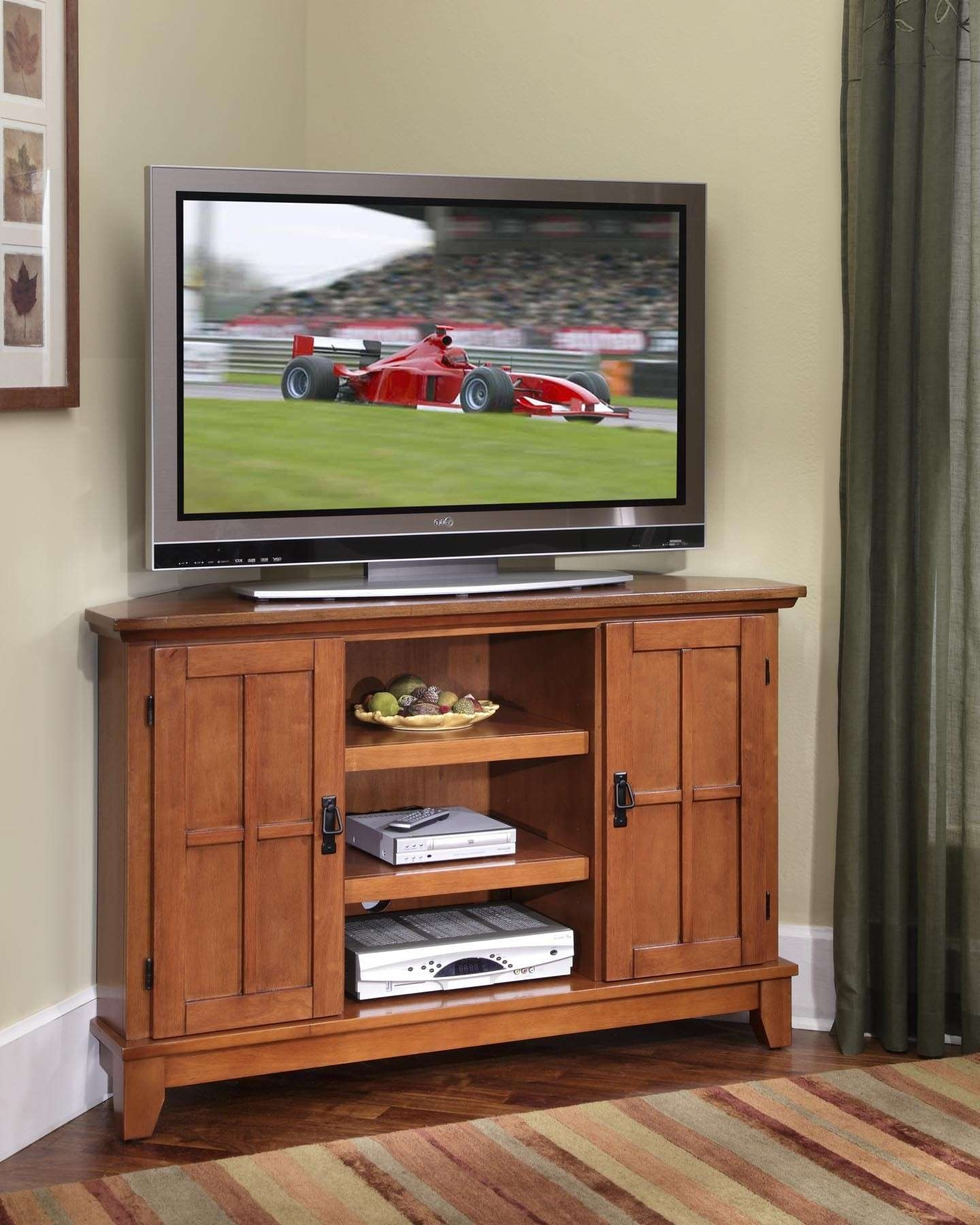Interesting Brown Mahogany Wood Corner Tv Stand Combine With Two Pertaining To White Wood Corner Tv Stands (View 4 of 15)