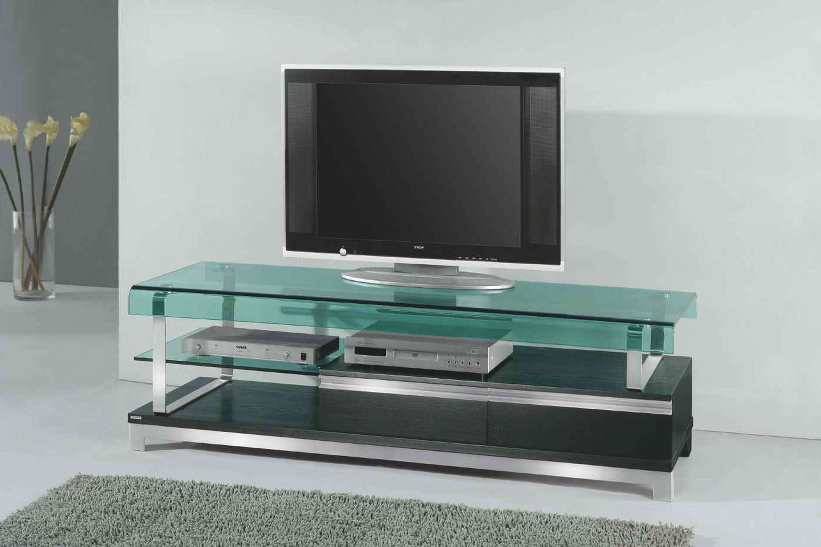 Interior Furniture Elegant Spacious Living Room With Minimalist Intended For Wood Tv Stands With Glass Top (View 5 of 15)