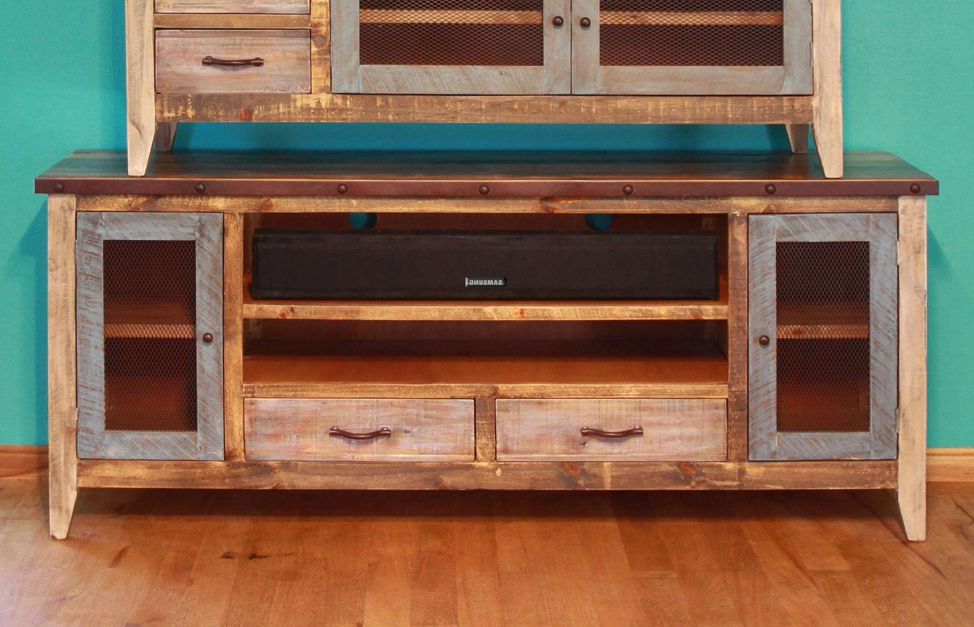 "International Furniture Direct 900 Antique Solid Pine 76"" Tv Stand Inside Solid Pine Tv Stands (View 6 of 15)"