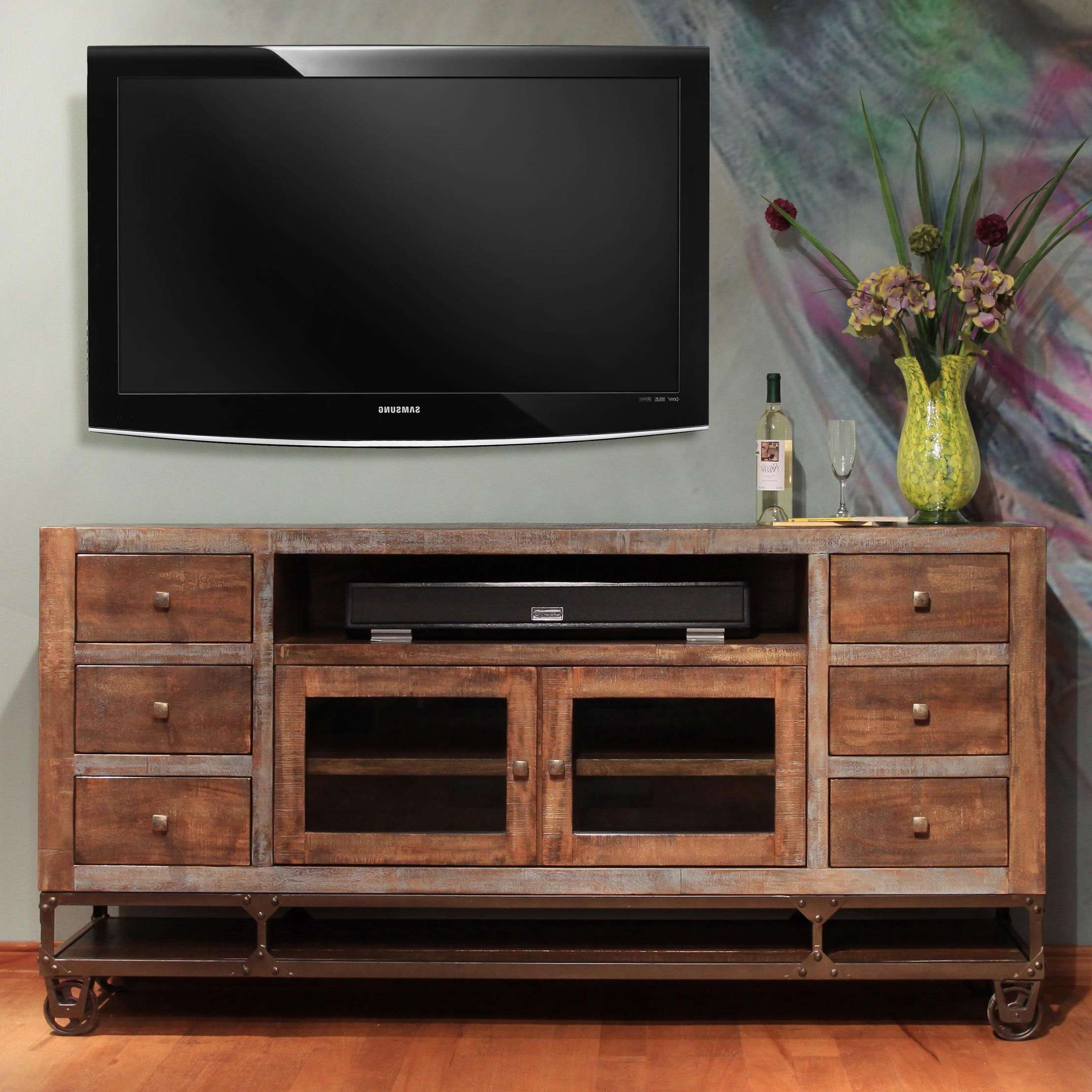 """International Furniture Direct Urban Gold 76"""" Solid Wood Tv Stand Intended For Gold Tv Stands (View 10 of 20)"""