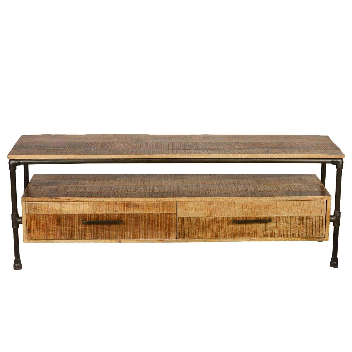 Iron Pipe & Mango Wood Tv Media Stand With Drawers Throughout Mango Wood Tv Stands (View 7 of 15)