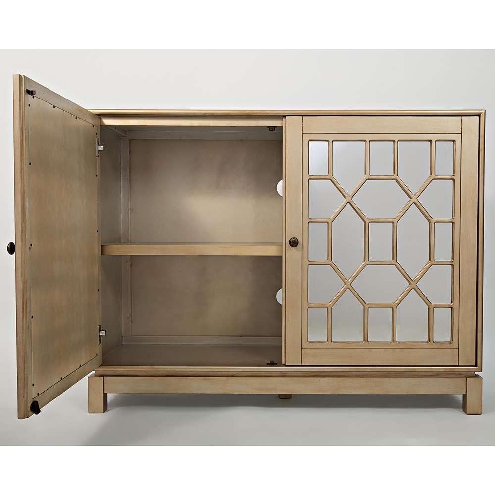 "Jofran 1555 50 Casa Bella 50"" Mirrored Console / Tv Stand In Within Gold Tv Stands (Gallery 5 of 20)"