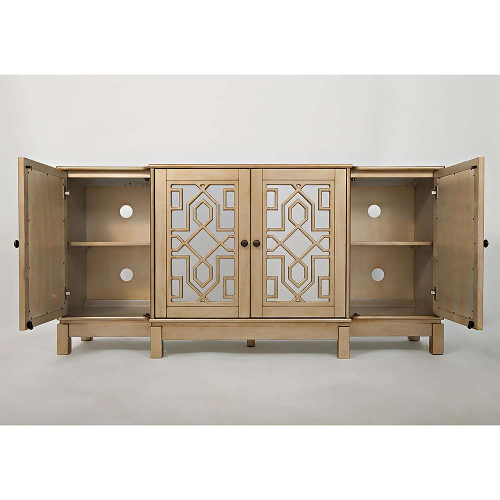 """Jofran 1555 70 Casa Bella 70"""" Mirrored Console / Tv Stand In Intended For Gold Tv Stands (View 14 of 20)"""