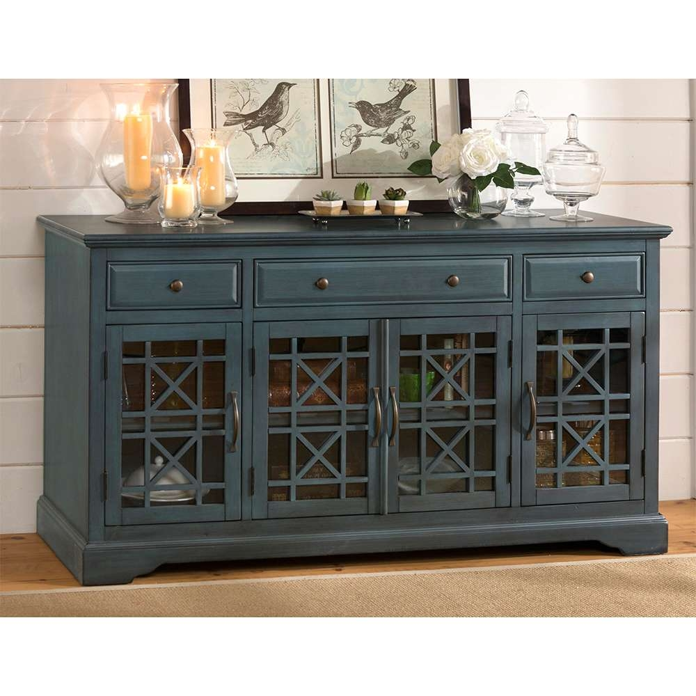 "Jofran 175 60 Craftsman Antique 60"" Tv Stand Media Unit In Inside Blue Tv Stands (Gallery 1 of 15)"