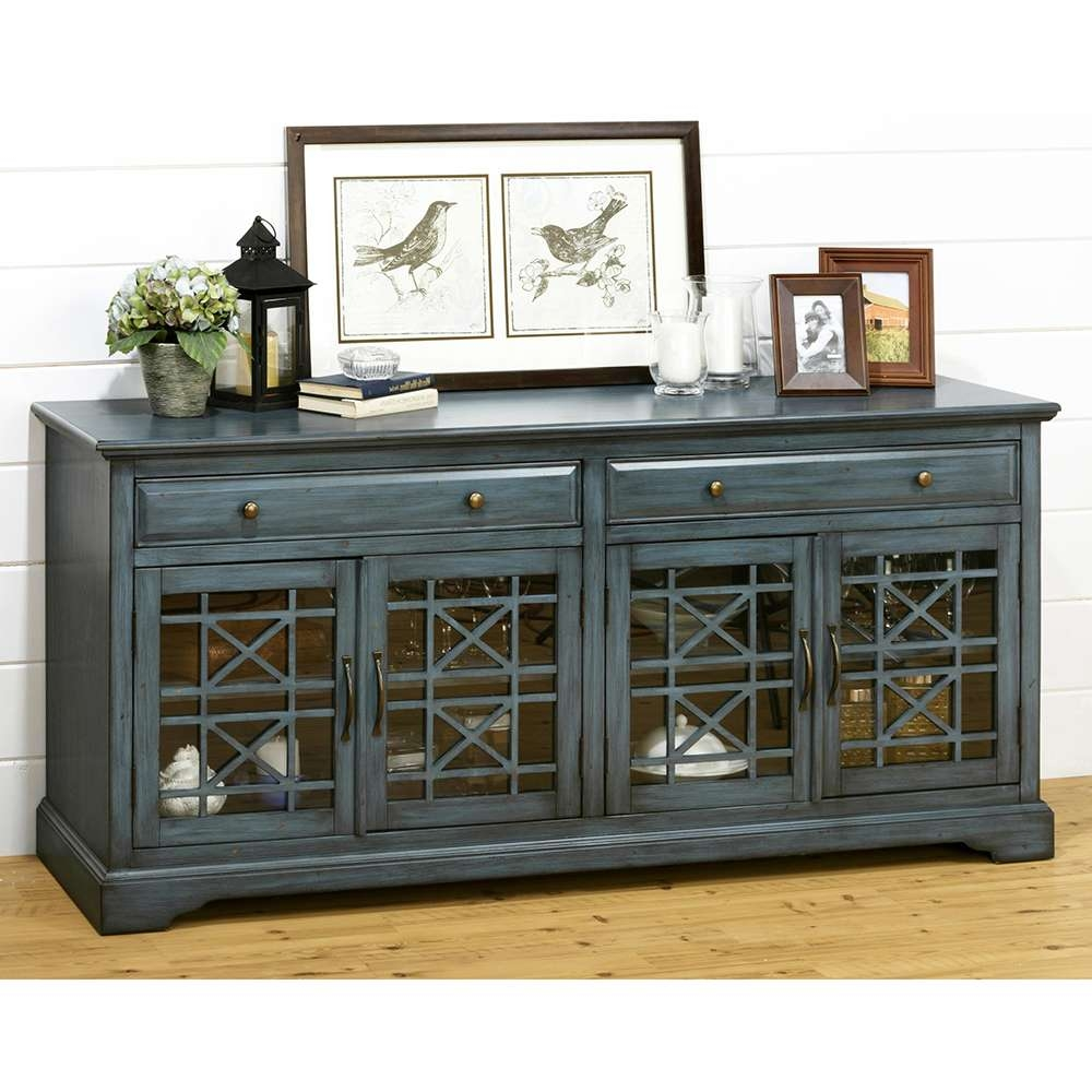 """Jofran 175 9 Craftsman Antique 70"""" Tv Stand Media Unit W With Blue Tv Stands (View 2 of 15)"""