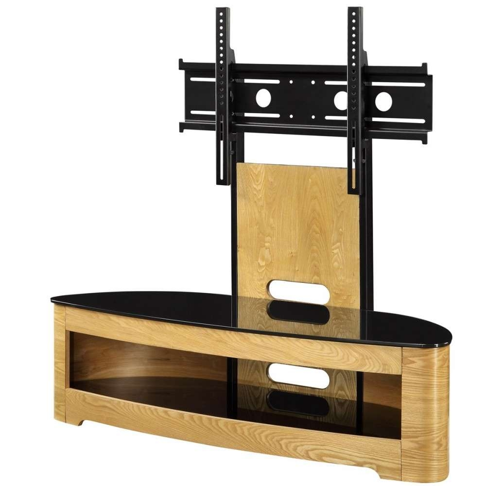 Jual Jf209 Ob Lcd Tv Stands Oak Black Glass 2 Shelf Tvs 40 Up To 55 Pertaining To White Oval Tv Stands (View 7 of 15)