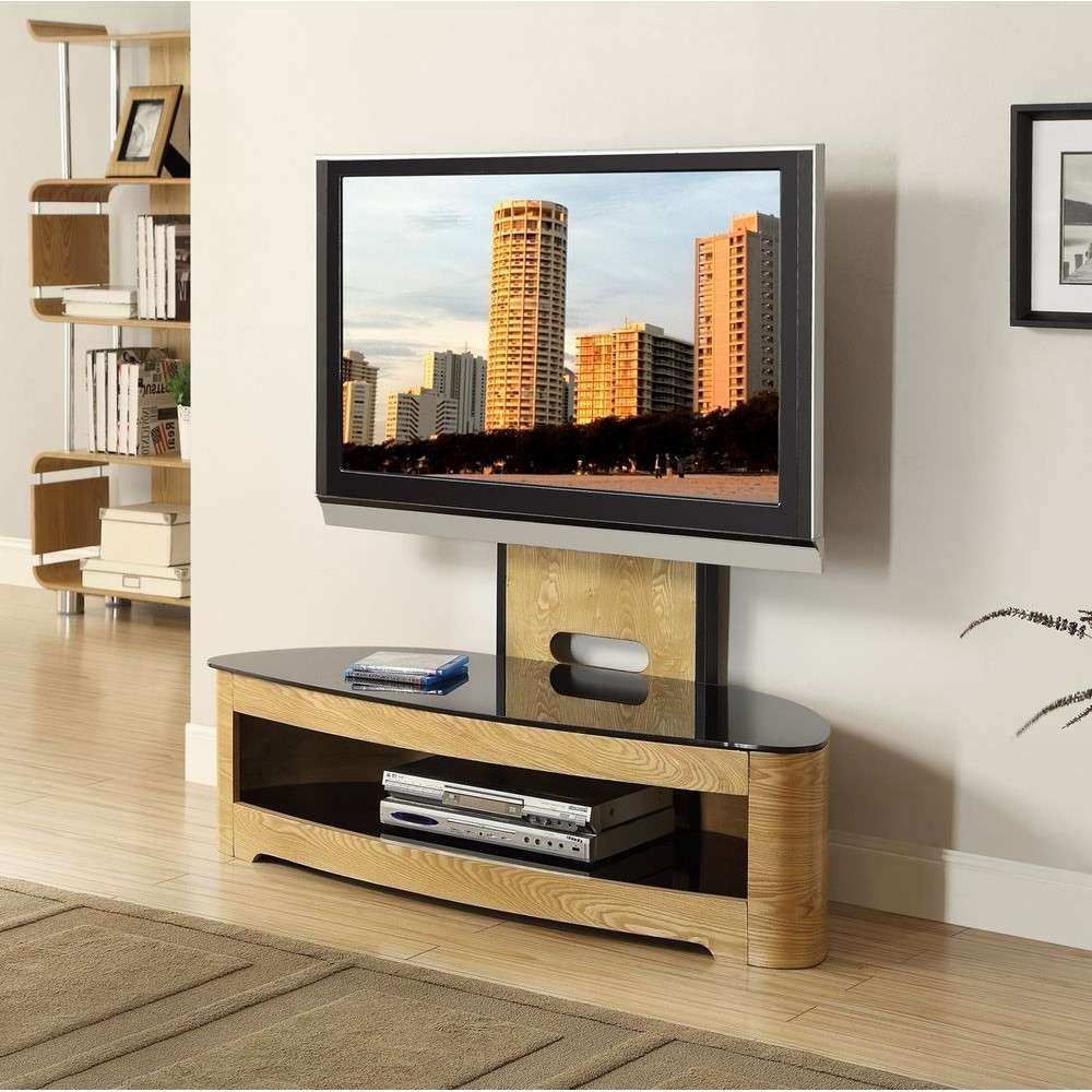 Jual Jf209 Ob Lcd Tv Stands Oak Black Glass 2 Shelf Tvs 40 Up To 55 Regarding Tv Stands Cantilever (View 11 of 15)