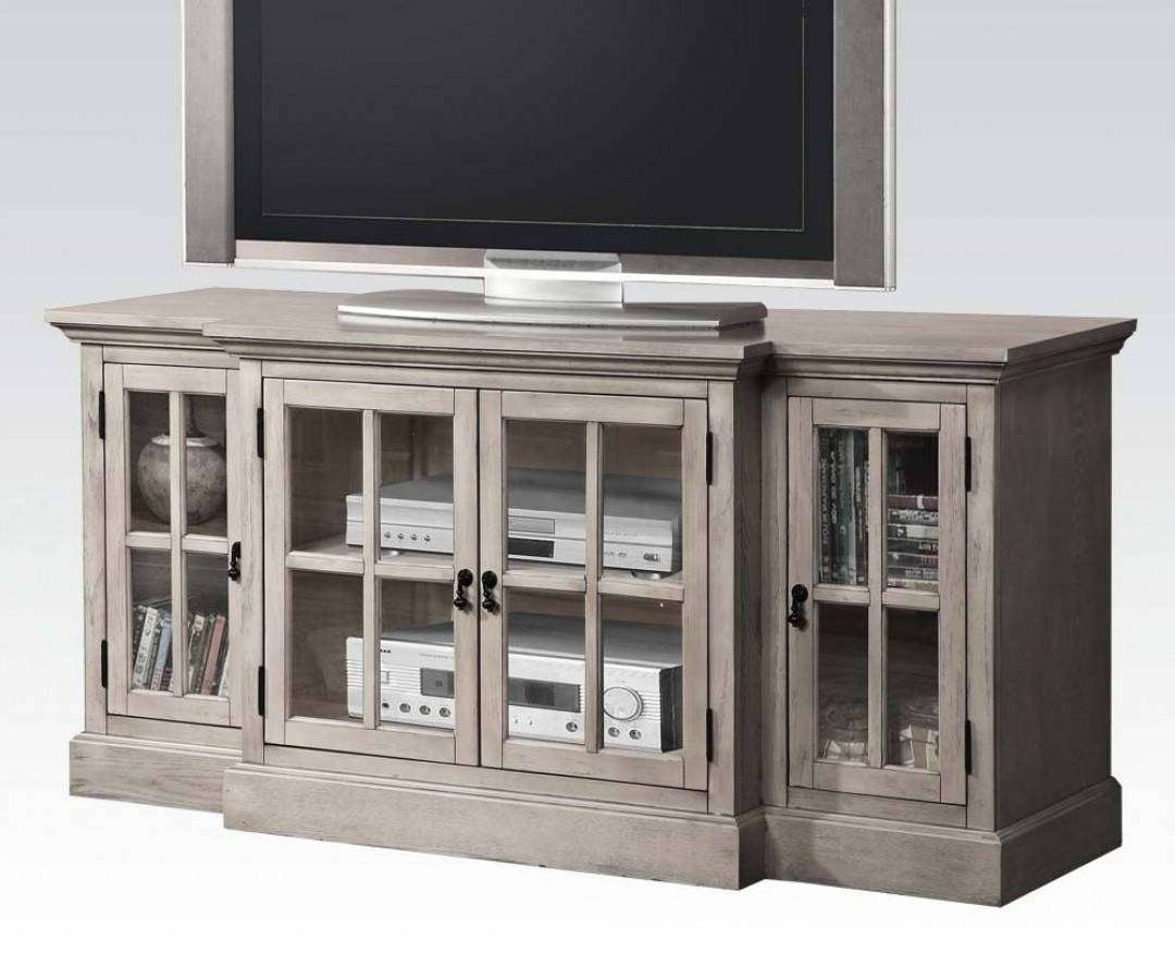 Julian Gray Wood Tv Stand W/4 Glass Doors | The Classy Home Throughout Grey Wood Tv Stands (View 5 of 15)