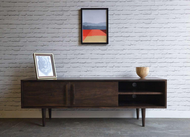 Kasse Tv Stand – Solid Maple – Dark Walnut Stain | Tamankoma Regarding Dark Walnut Tv Stands (View 2 of 15)