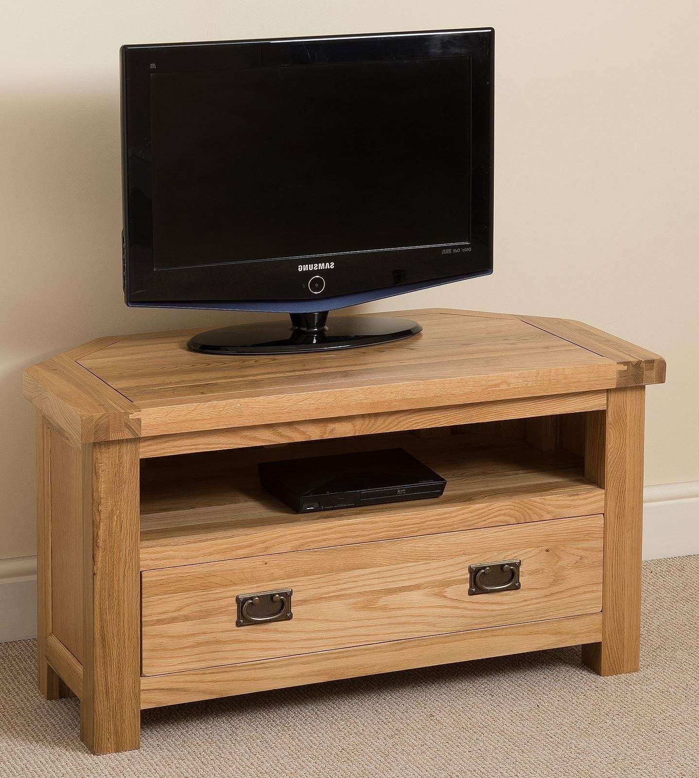 Kuba Solid Oak Corner Tv Cabinet • Corner Cabinets Intended For Light Oak Corner Tv Stands (View 14 of 20)